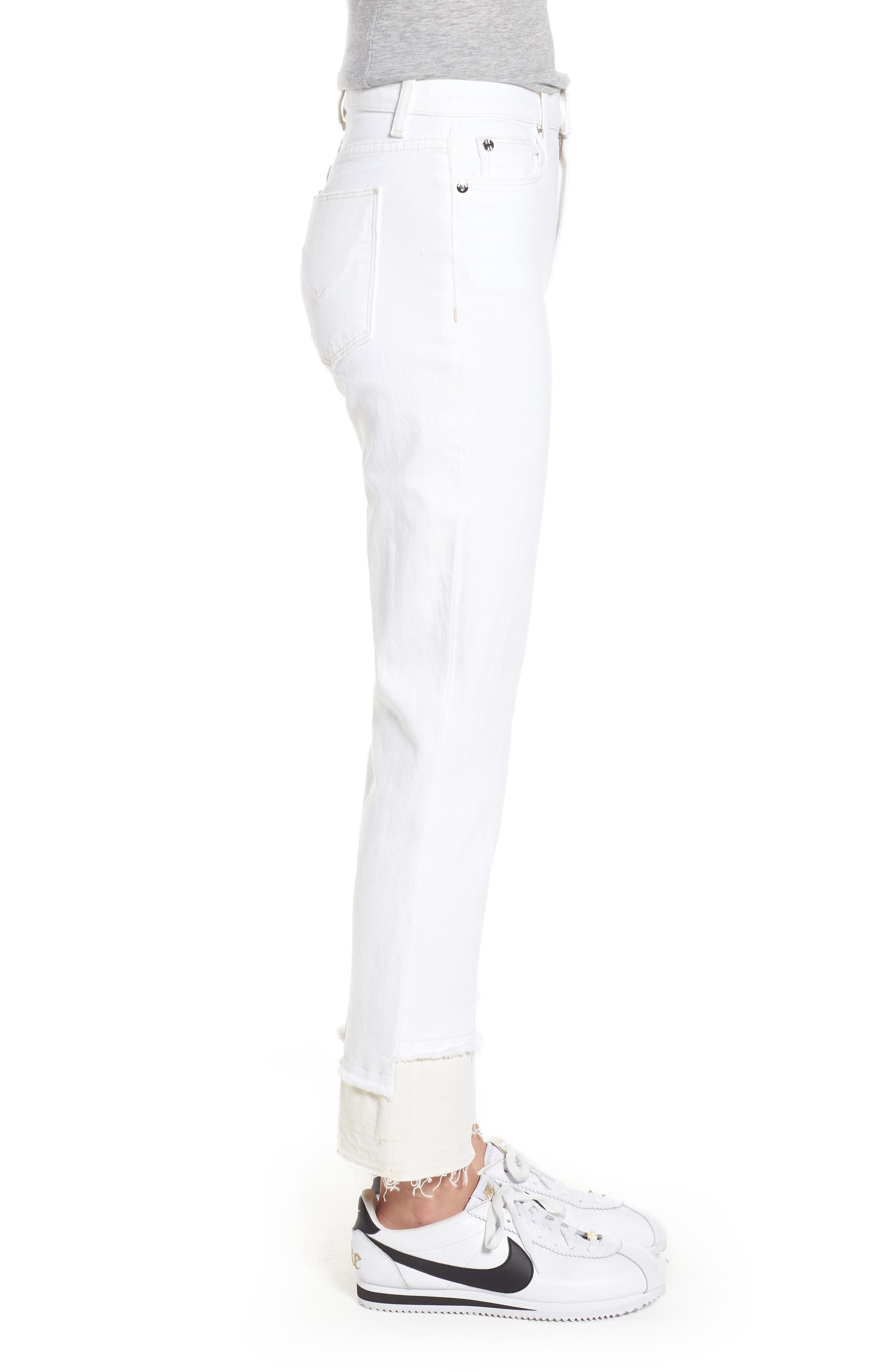 Zoeey High Waist Crop Straight Leg Jeans,                             Alternate thumbnail 3, color,                             Stepped White