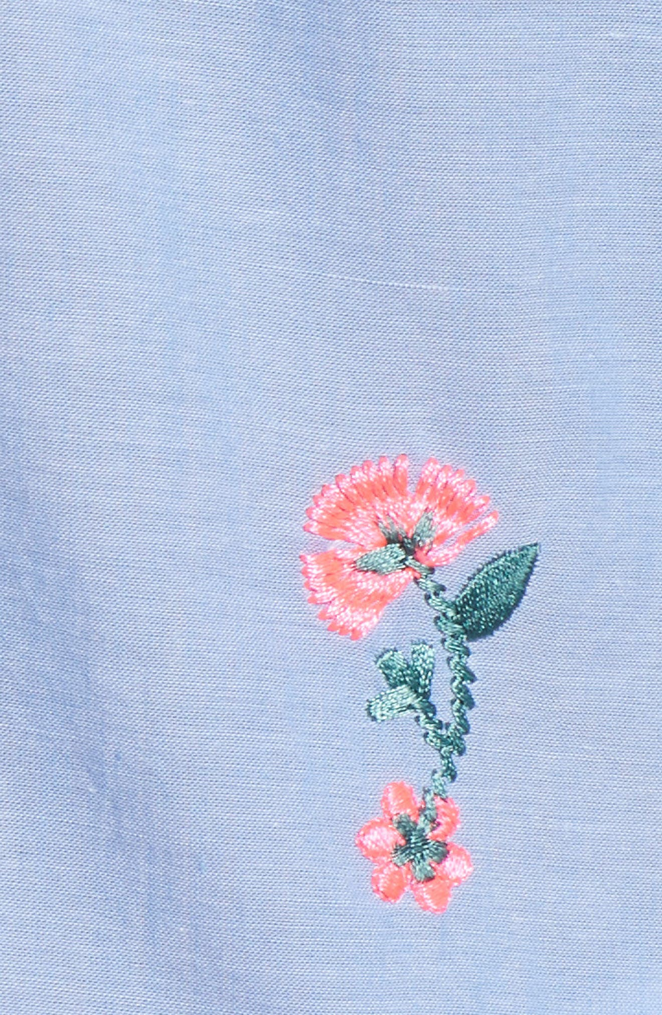 Embroidered Cotton Peasant Blouse,                             Alternate thumbnail 6, color,                             Chambray