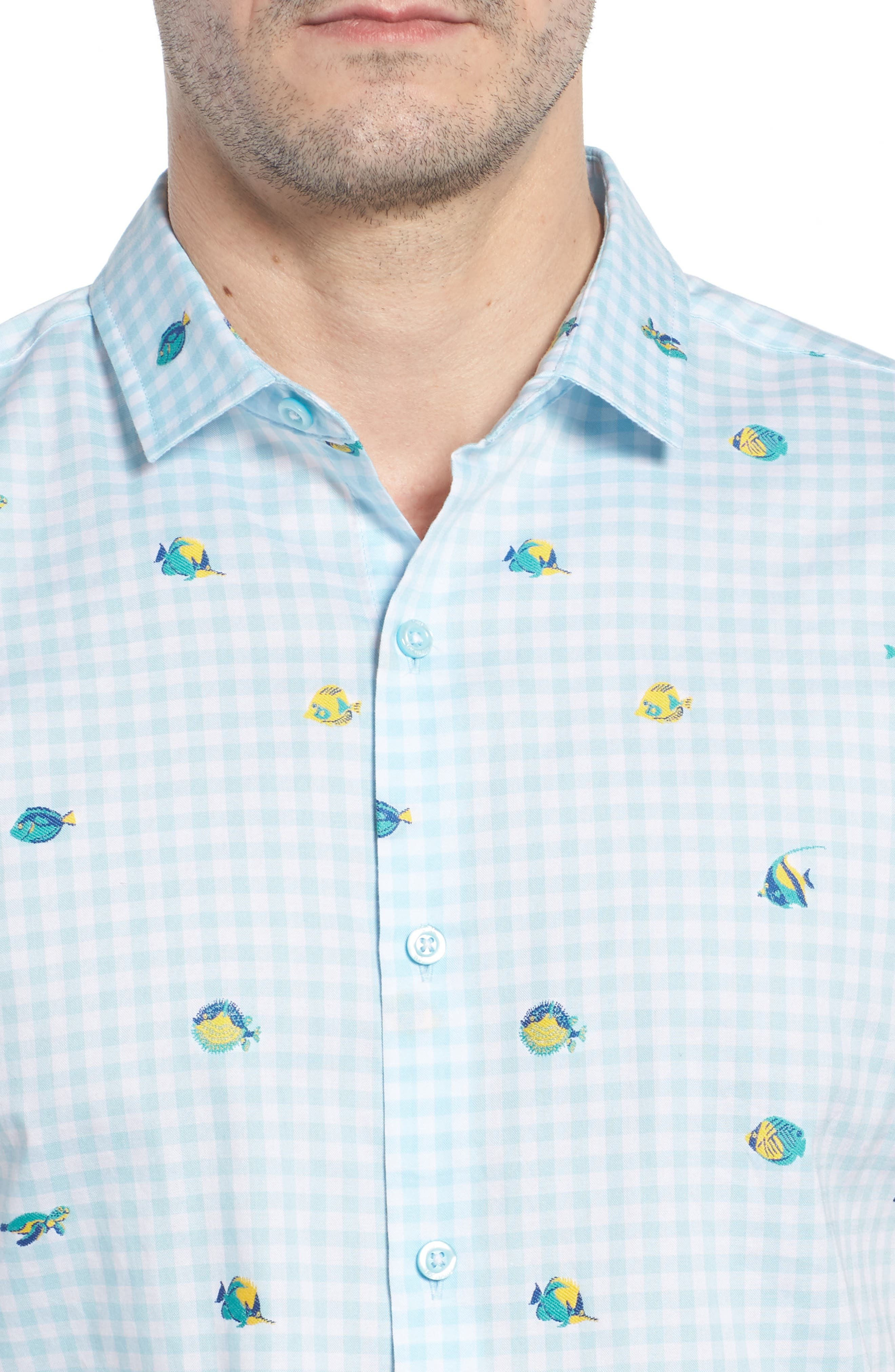 Picnic Reef Trim Fit Embroidered Camp Shirt,                             Alternate thumbnail 2, color,                             Sky Blue