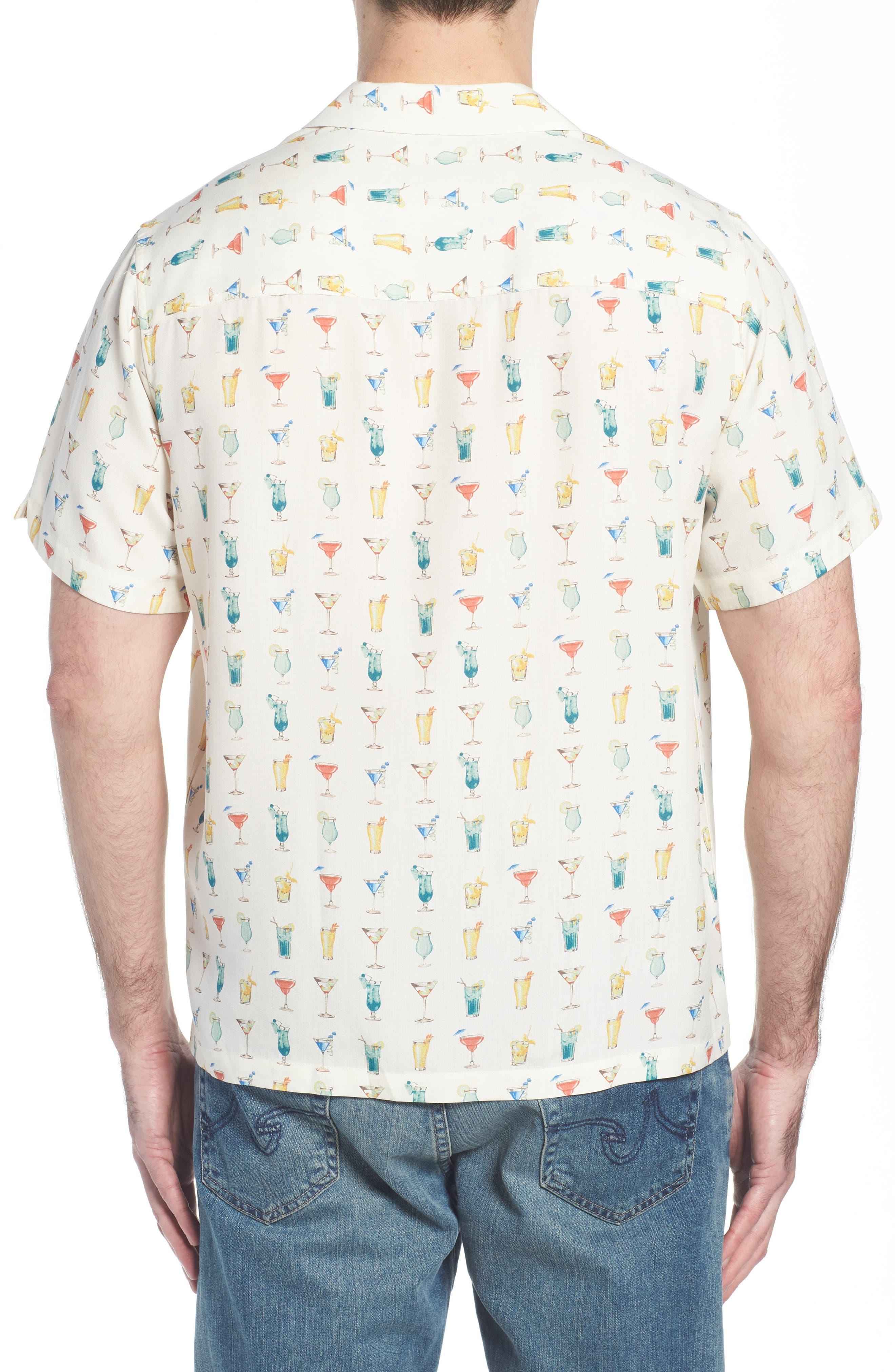 Mixalot Trim Fit Silk Blend Camp Shirt,                             Alternate thumbnail 5, color,                             Off White