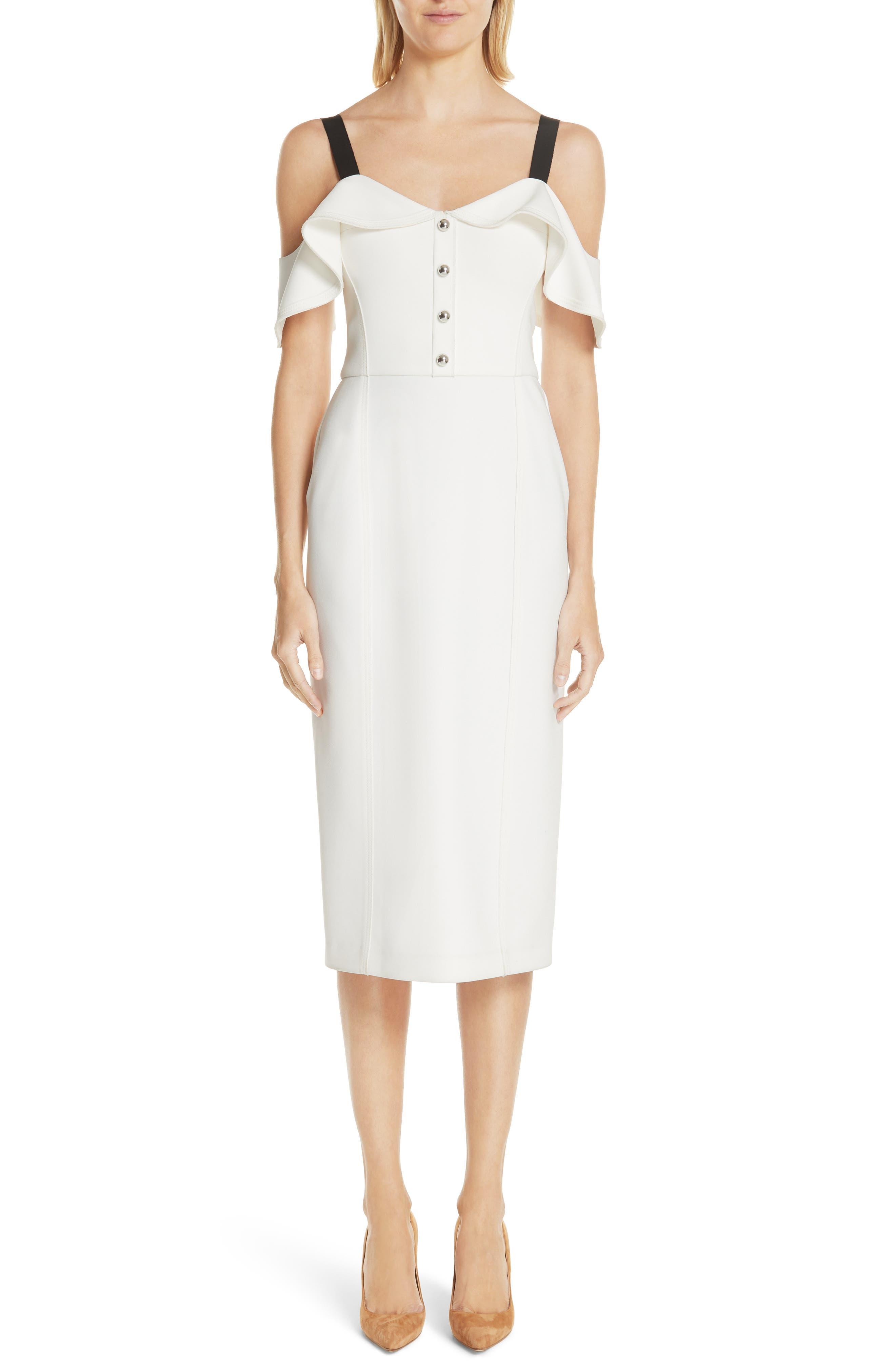 Cold Shoulder Crepe Sheath Dress,                             Main thumbnail 1, color,                             Chalk
