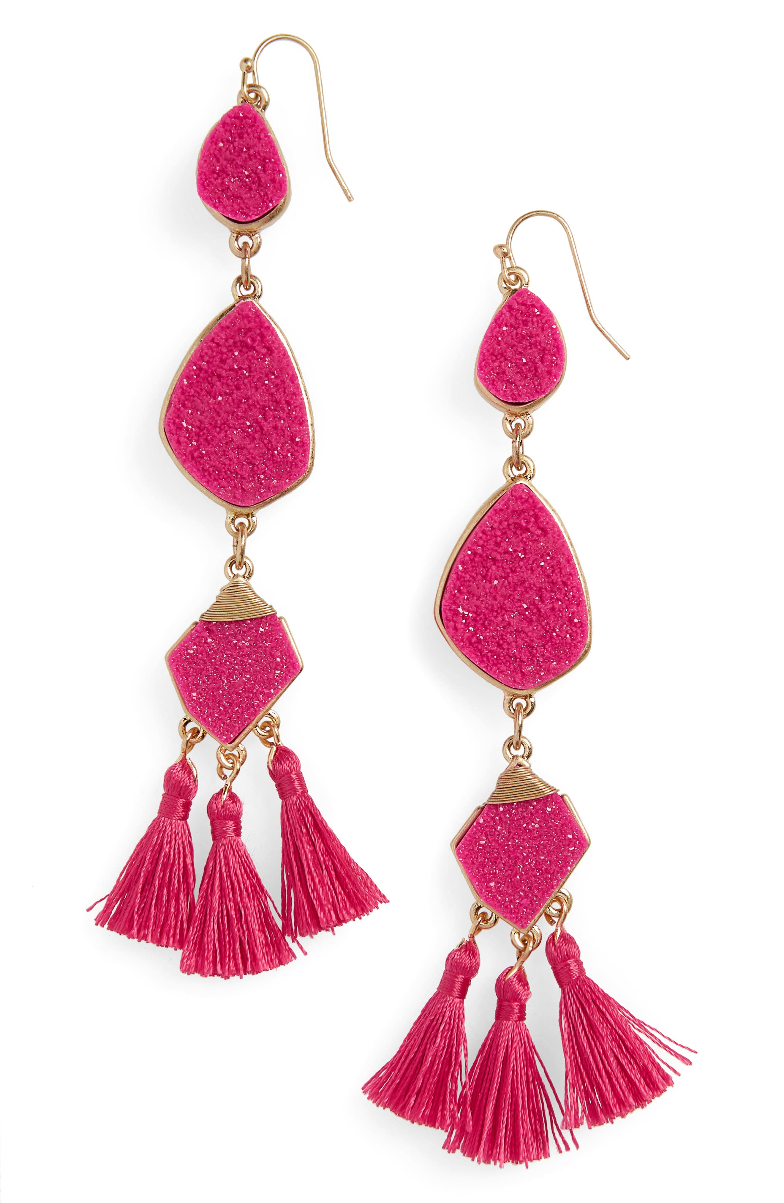 Drusy Tassel Earrings,                             Main thumbnail 1, color,                             Hot Pink