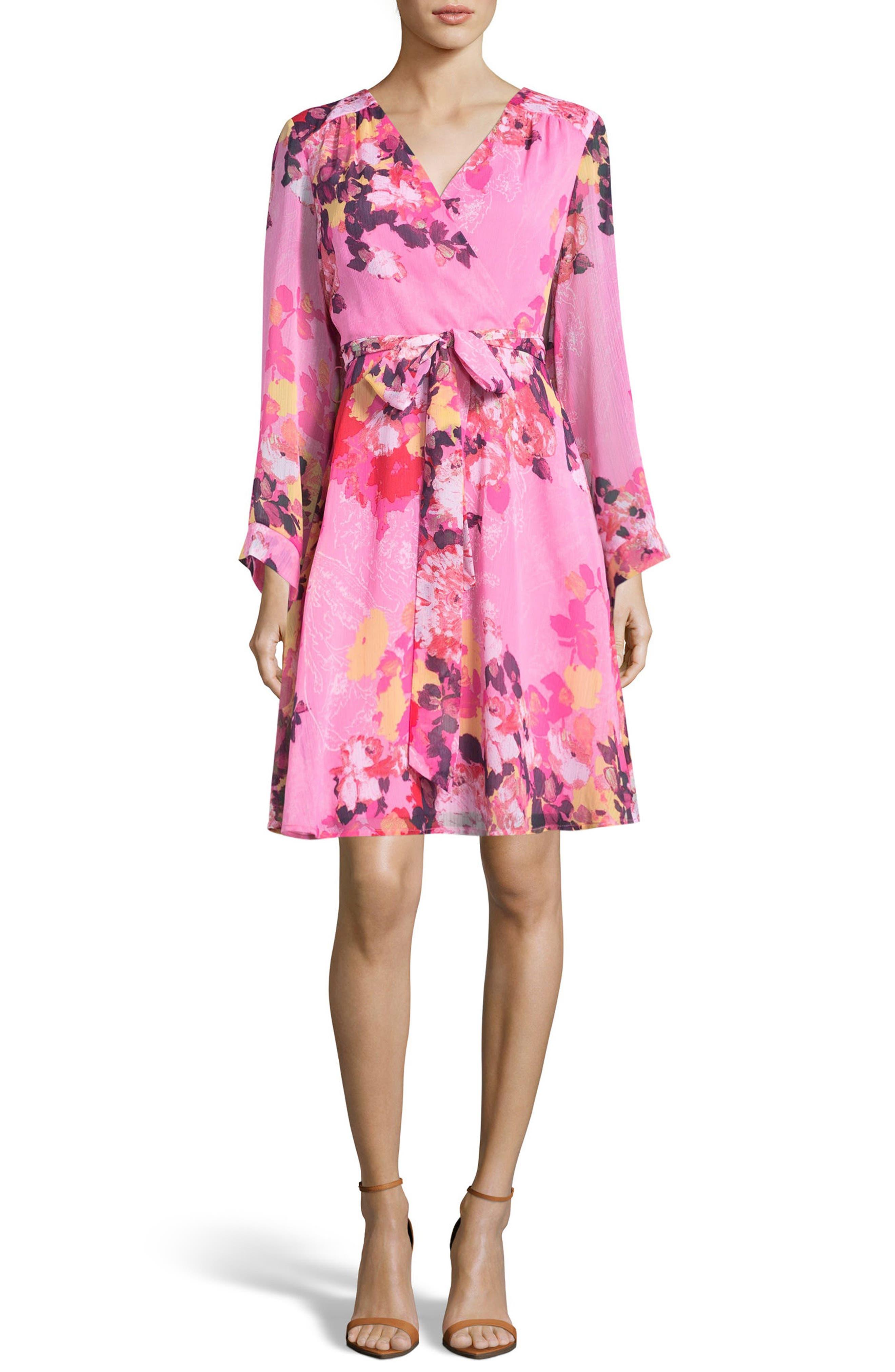 Floral Print Wrap Dress,                             Main thumbnail 1, color,                             Pink
