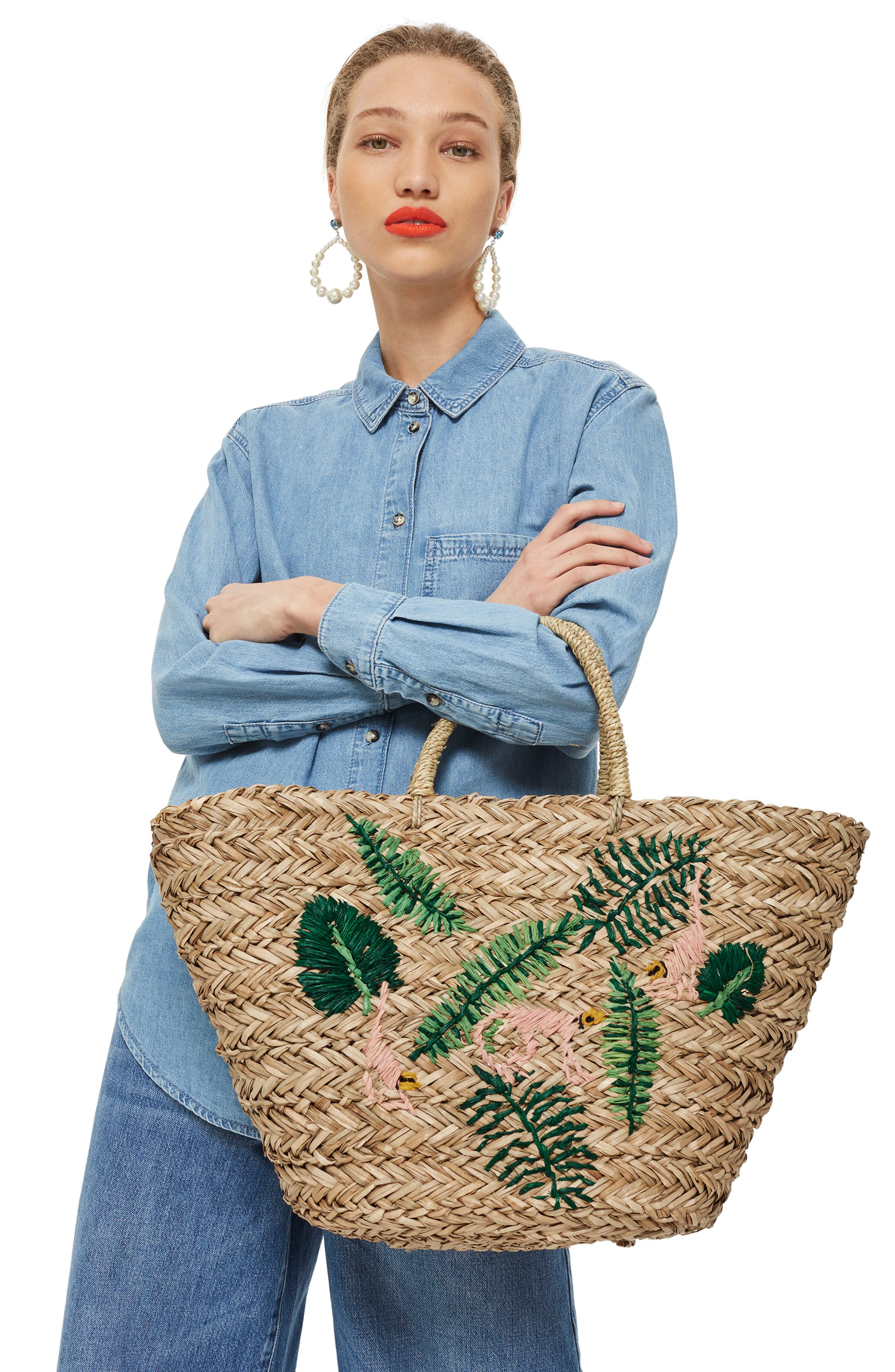 Barrio Monkey Embroidered Straw Tote Bag,                             Alternate thumbnail 2, color,                             Nude Multi