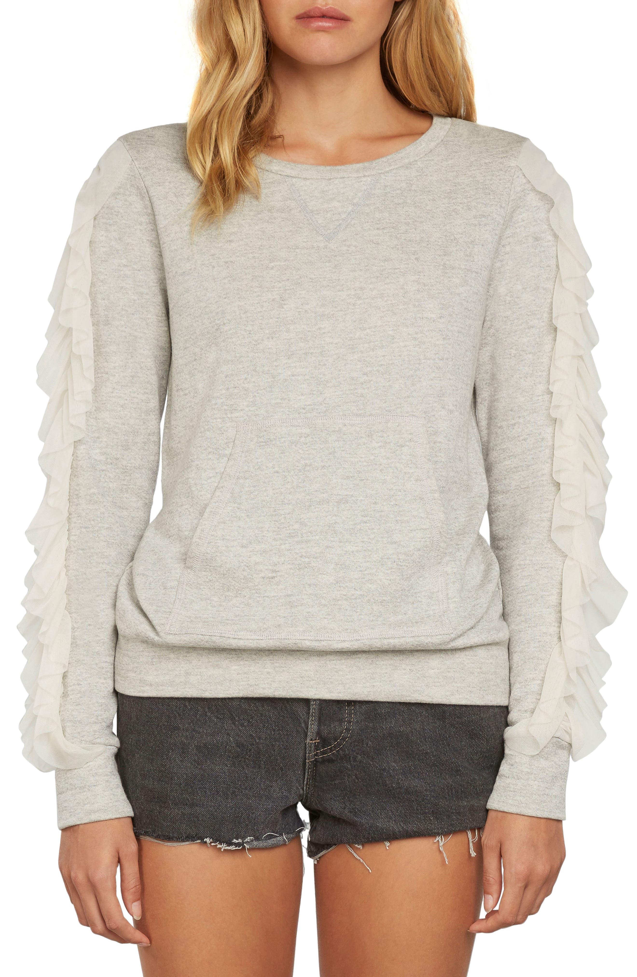 Ruffle Pullover Knit Sweatshirt,                             Main thumbnail 1, color,                             Heather Grey