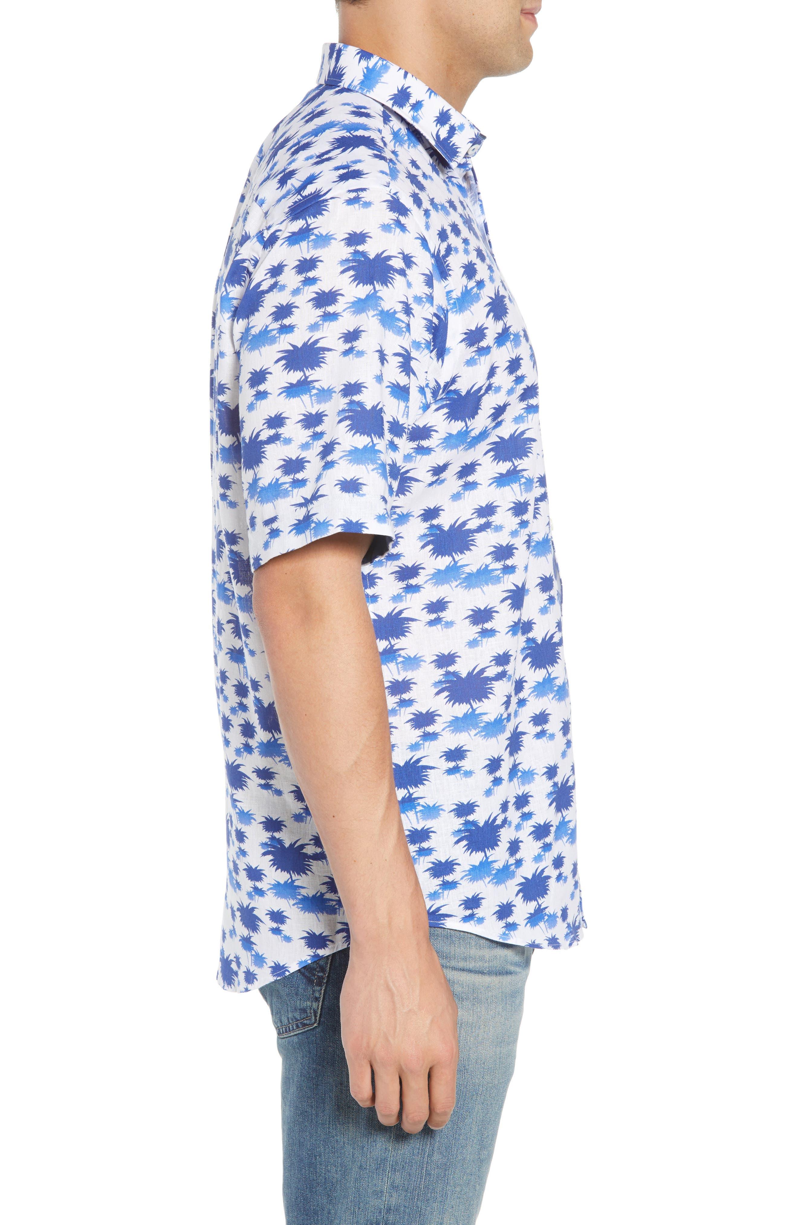Classic Fit Palm Print Sport Shirt,                             Alternate thumbnail 4, color,                             Classic Blue