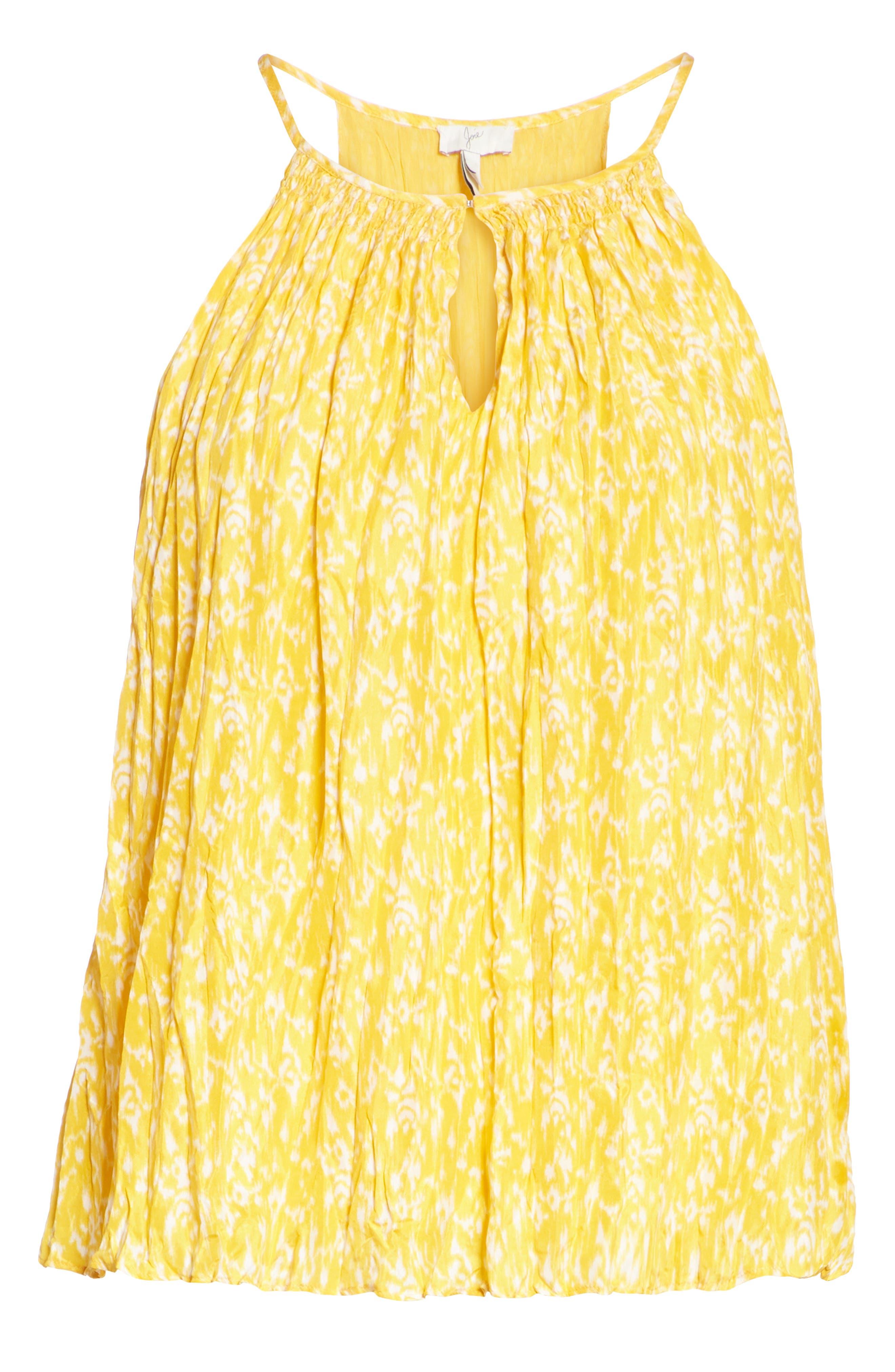 Hirota Crinkled Silk Keyhole Blouse,                             Alternate thumbnail 6, color,                             Corn Silk