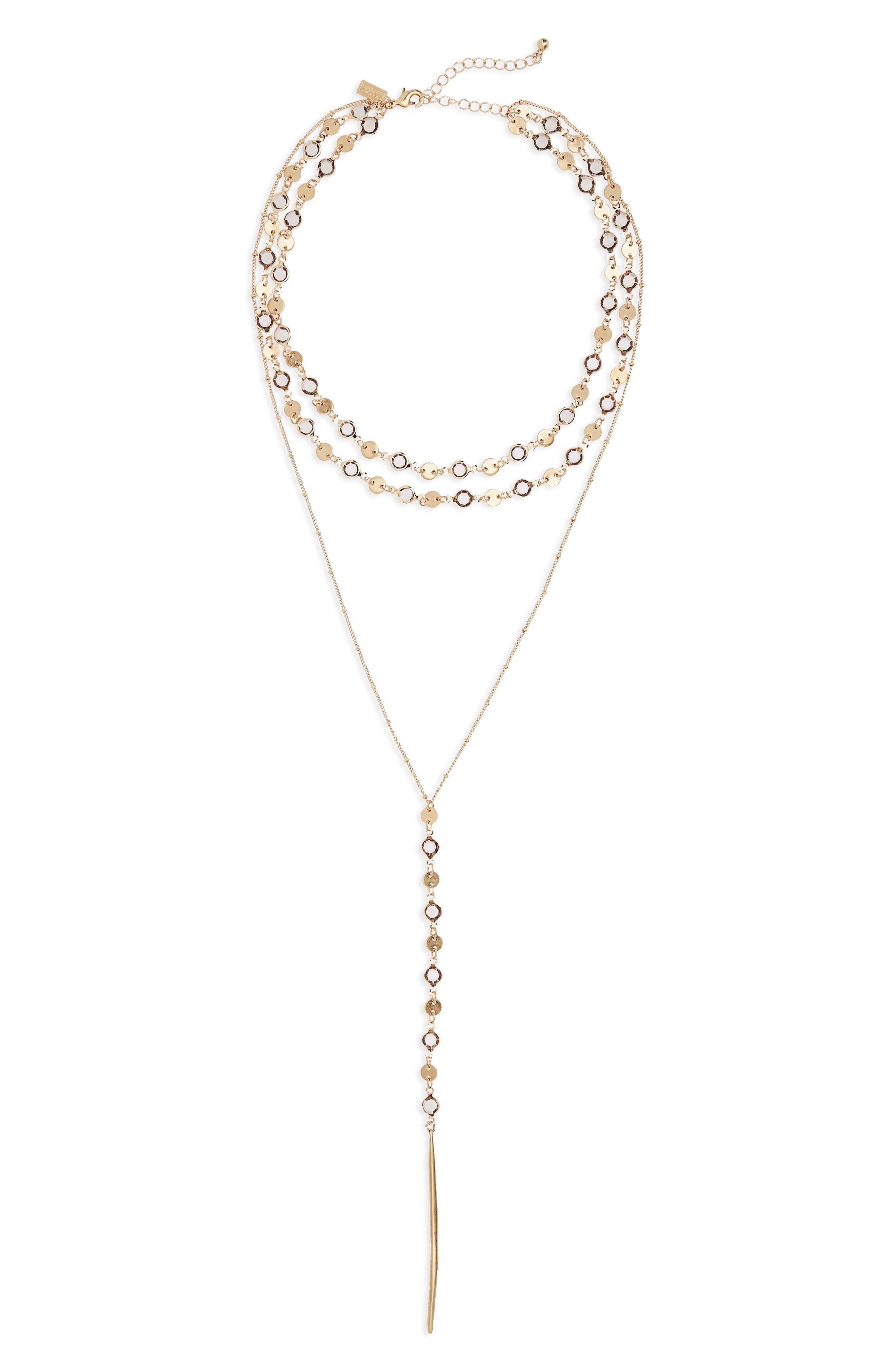Canvas Triple Disc Chain Y-Necklace