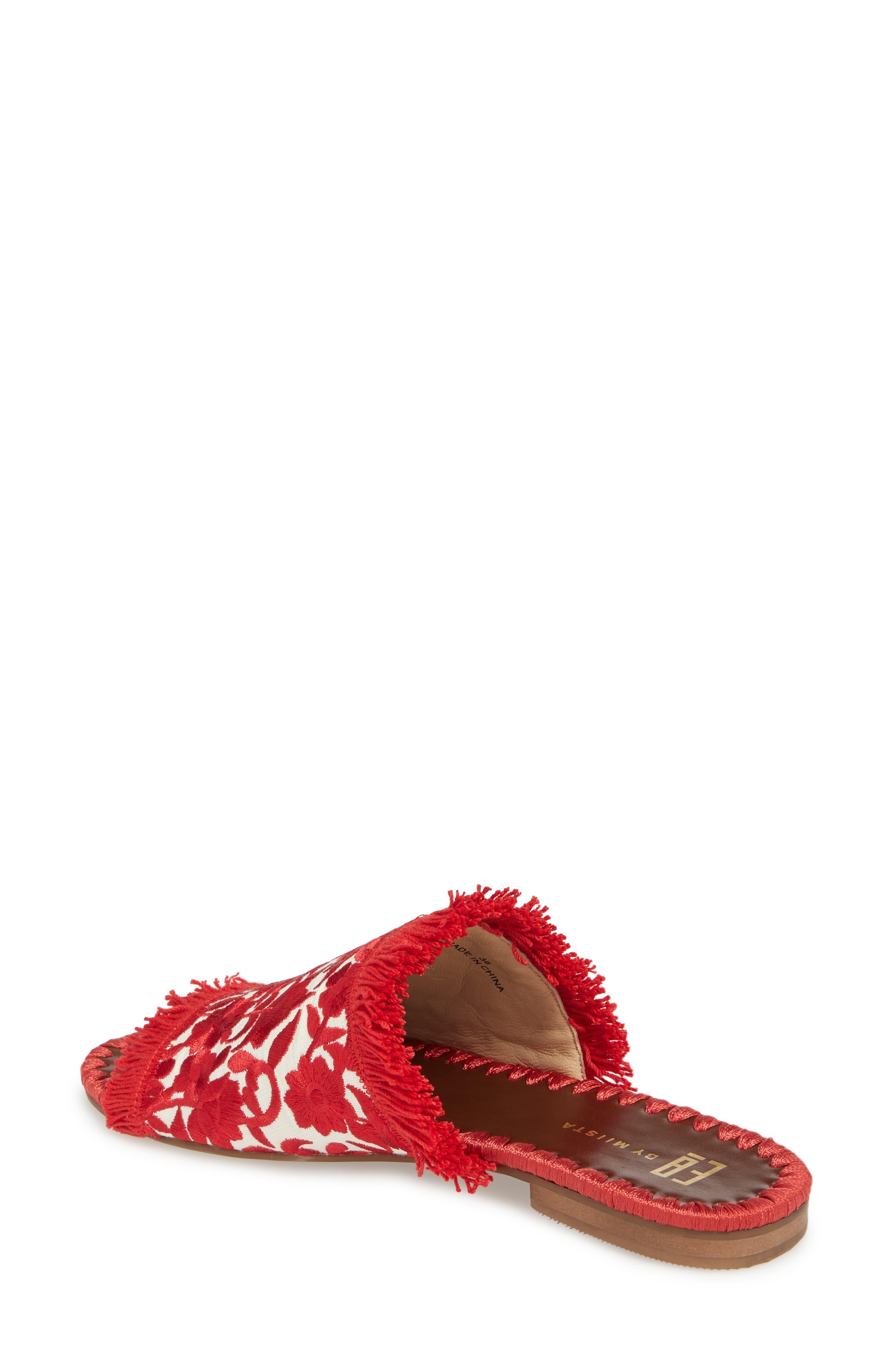 Tavie Fringed Slide Sandal,                             Alternate thumbnail 2, color,                             Red/ Cream Fabric