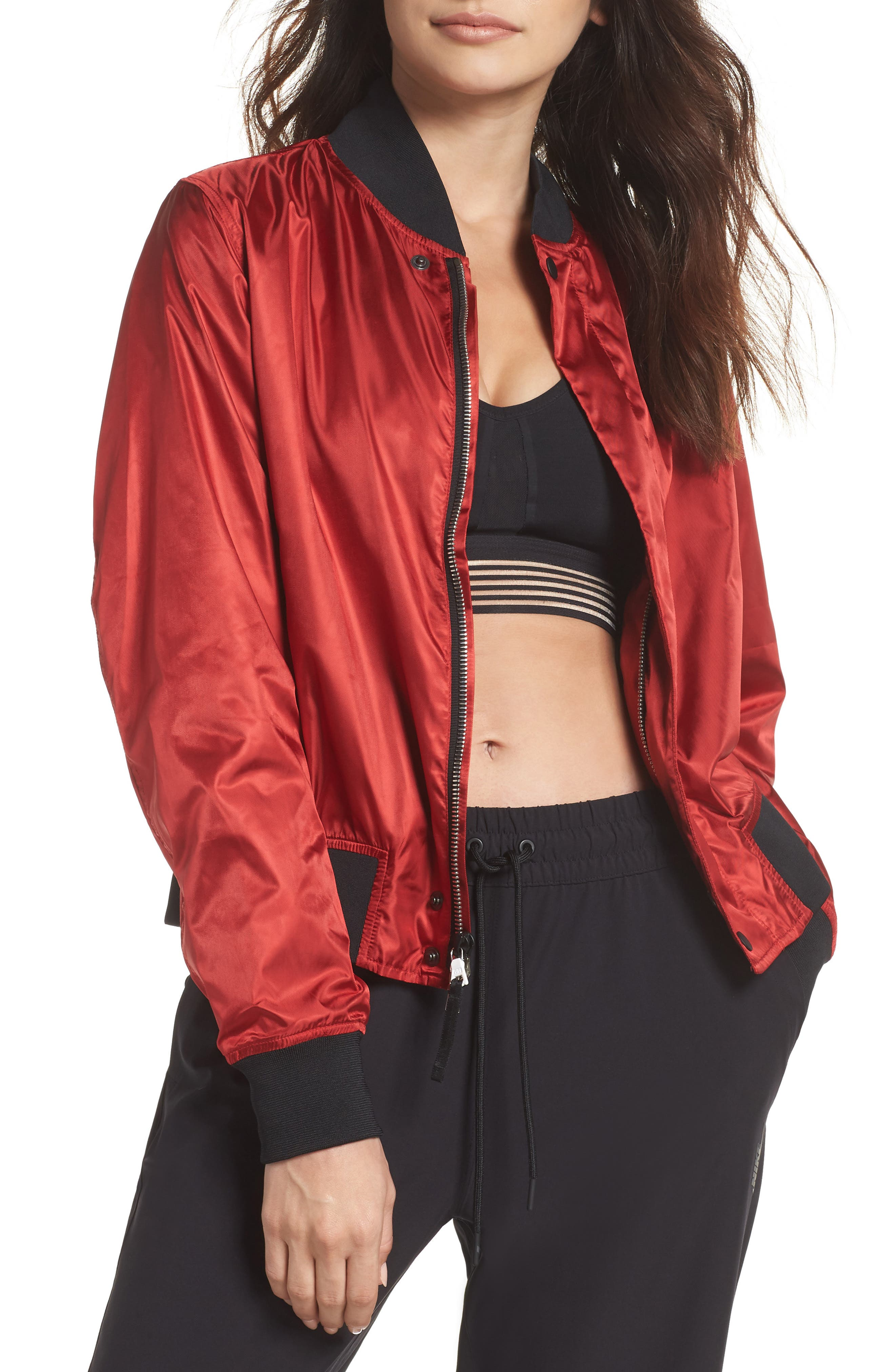 NikeLab Collection Women's Satin Bomber Jacket,                             Main thumbnail 1, color,                             Gym Red/ Black