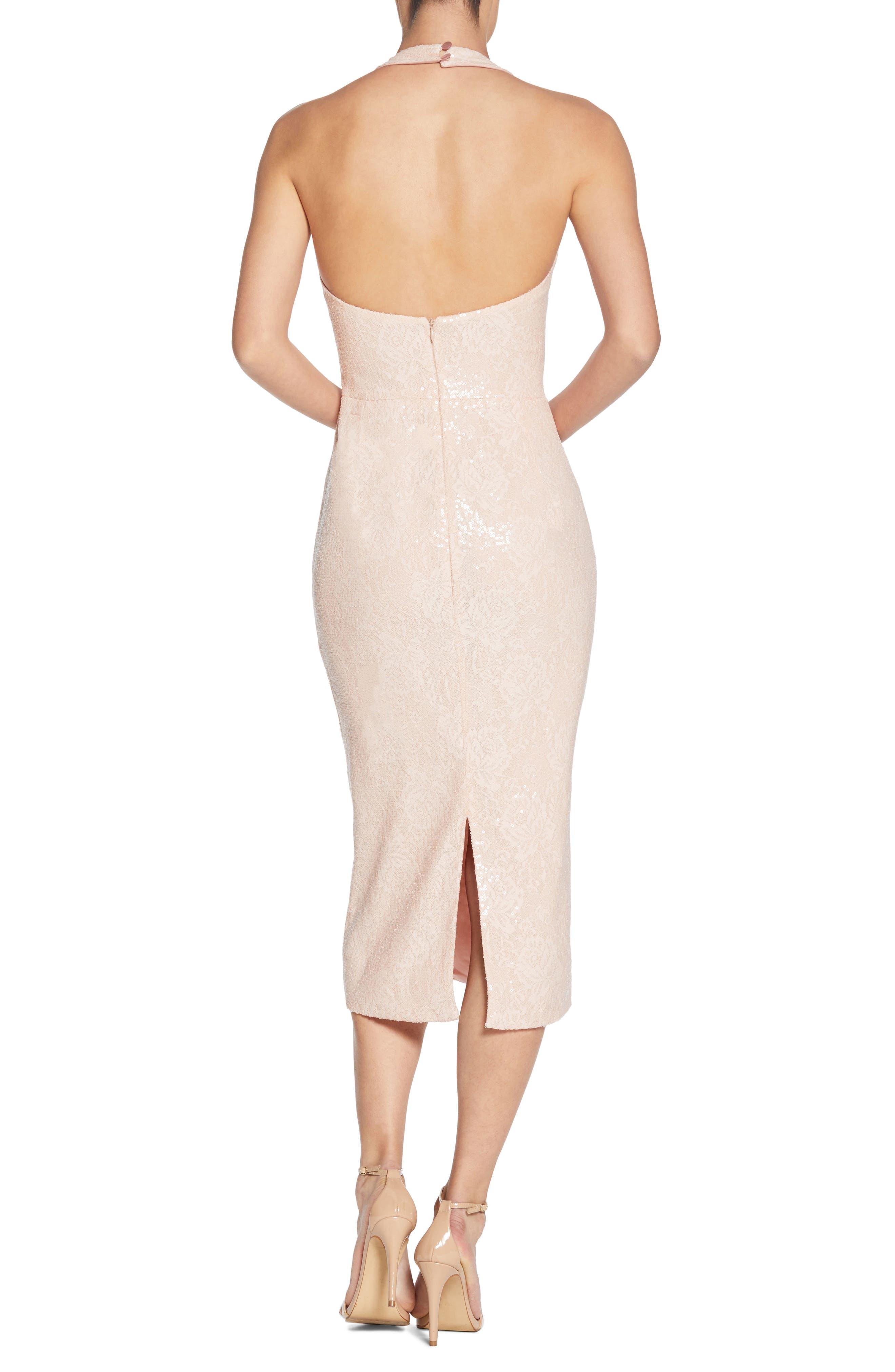 Cassie Halter Sequin Dress,                             Alternate thumbnail 2, color,                             Pink/ Nude