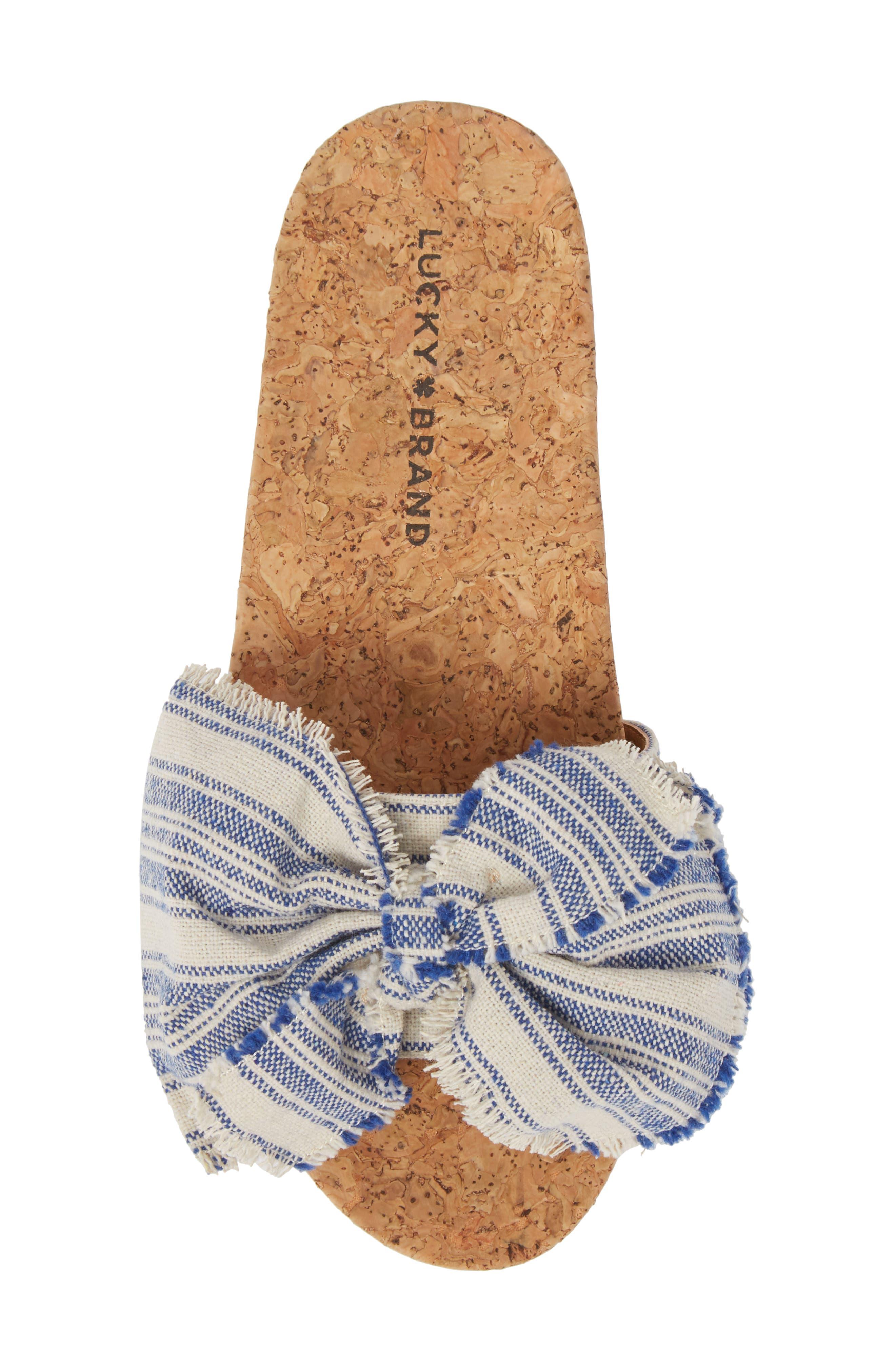 Floella Bow Slide Sandal,                             Alternate thumbnail 5, color,                             Lapis Leather