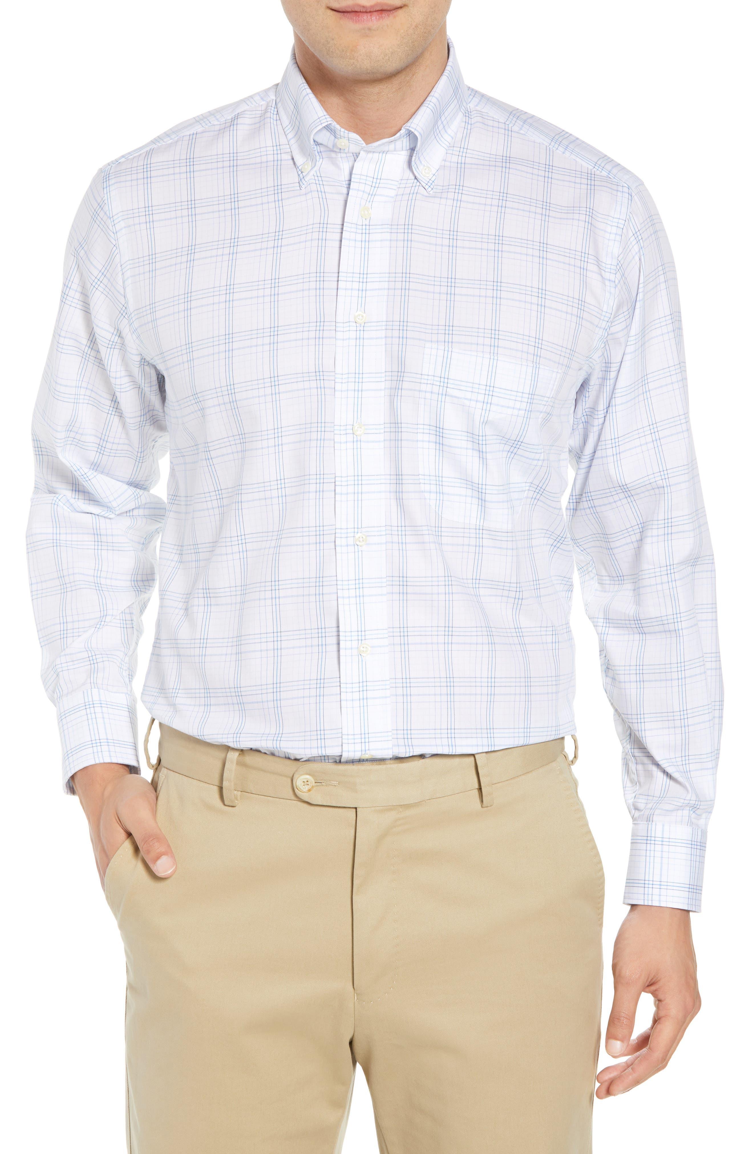 Tailored Fit Plaid Dress Shirt,                             Main thumbnail 1, color,                             Blue