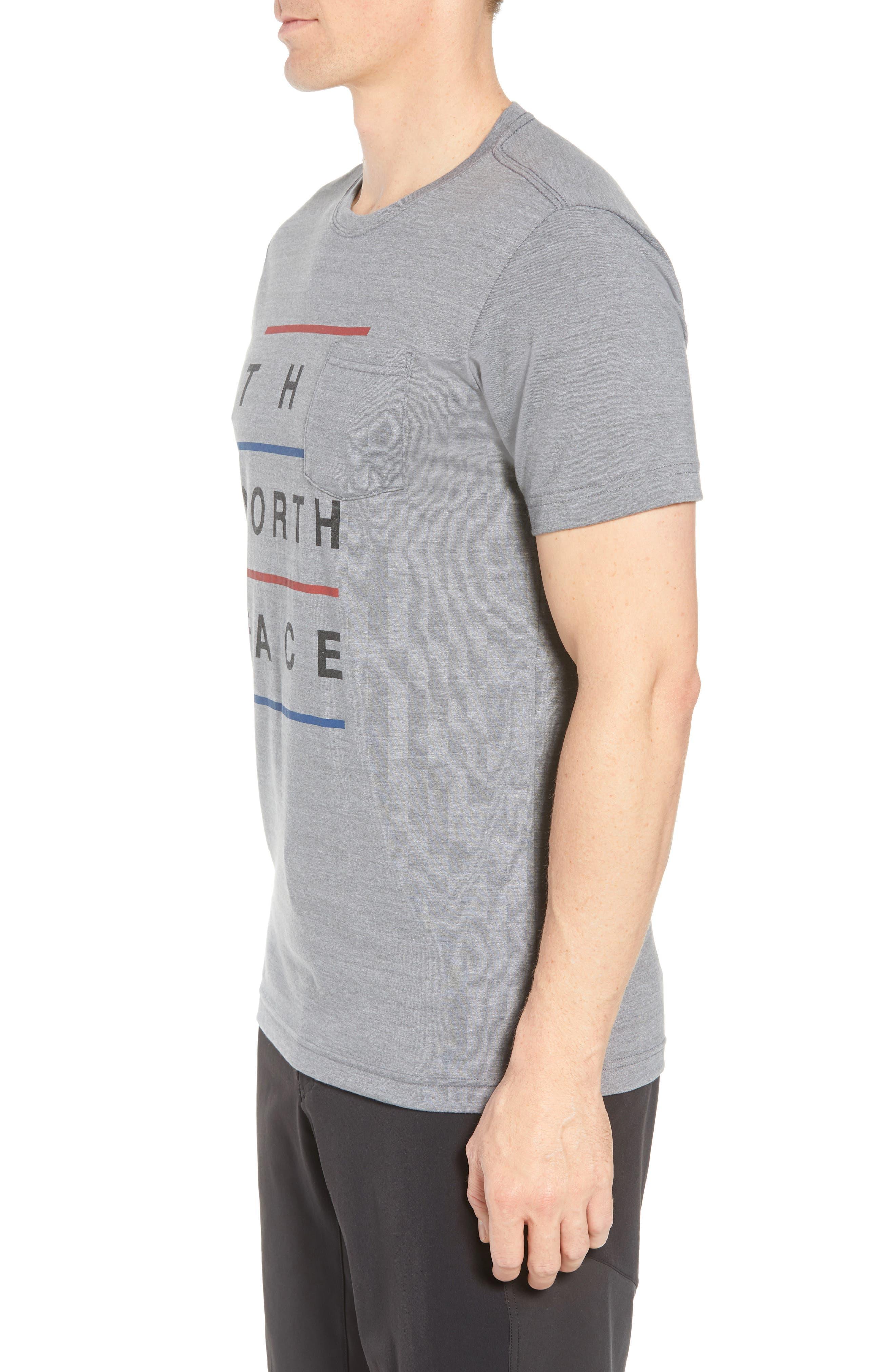 Americana Crewneck T-Shirt,                             Alternate thumbnail 3, color,                             Tnf Medium Grey Heather