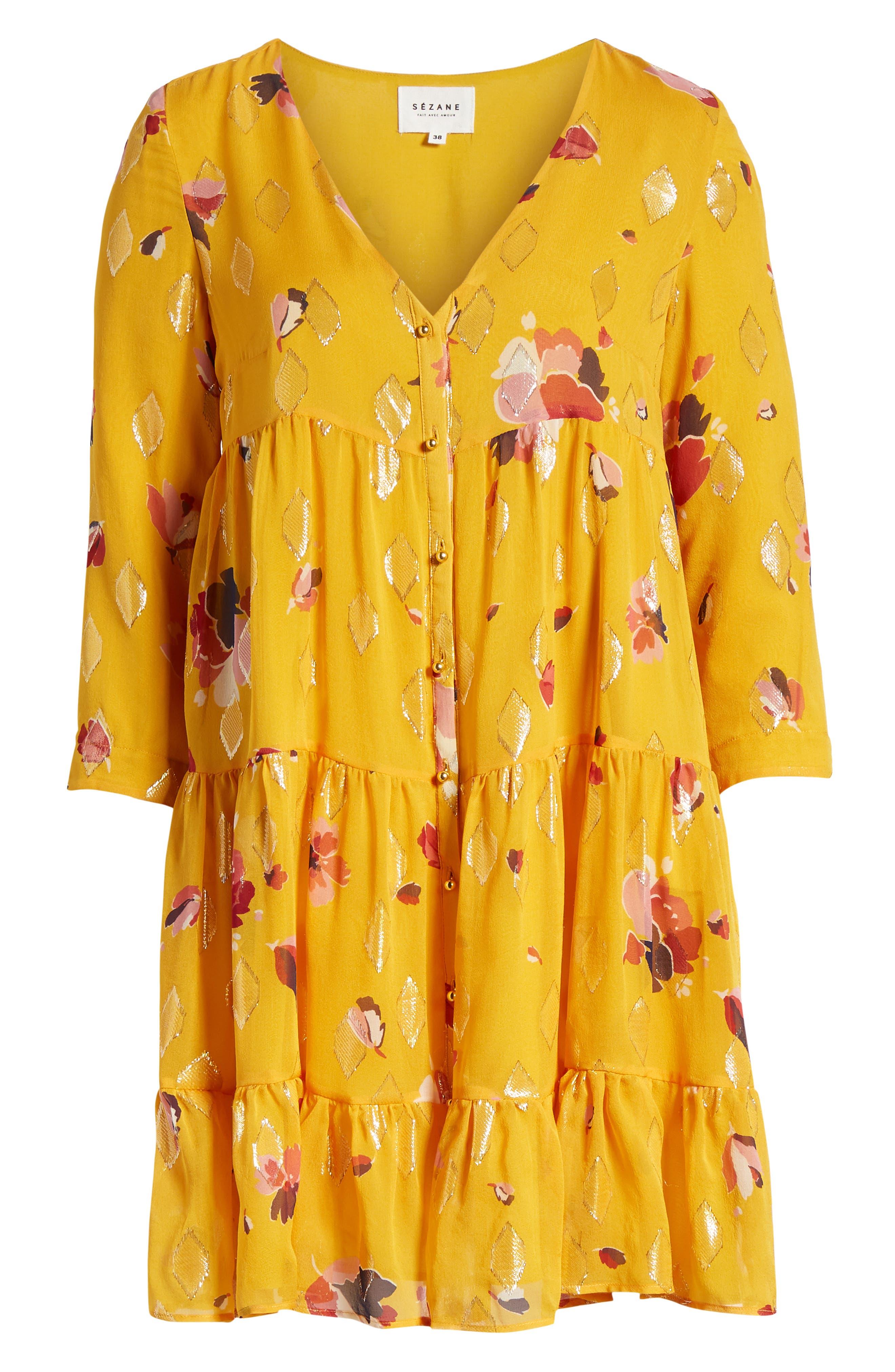 Aure Silk A-Line Dress,                             Main thumbnail 1, color,                             Big Flowers 60S On Saffron
