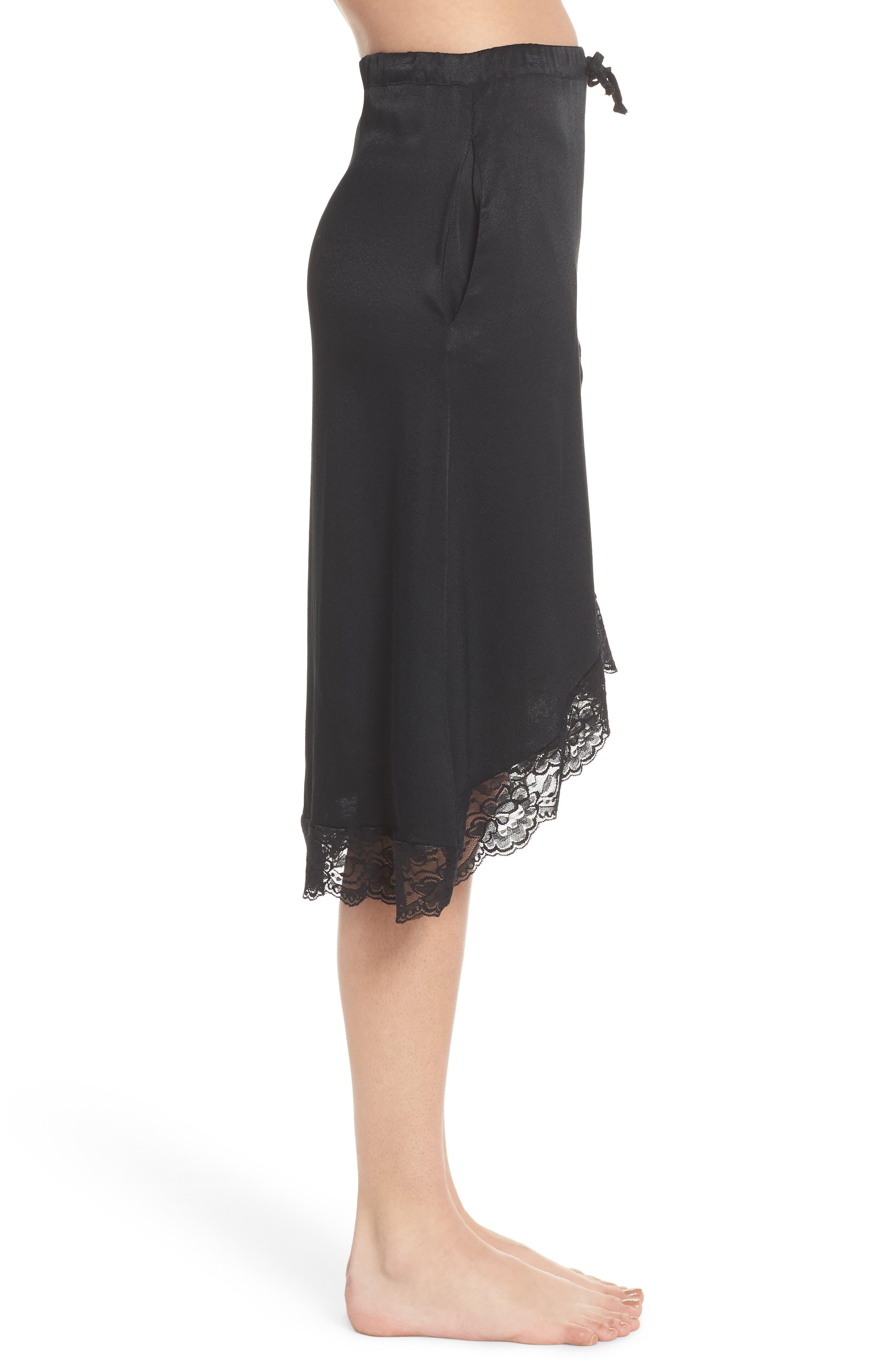 Lace Trim Slip Skirt,                             Alternate thumbnail 3, color,                             Black
