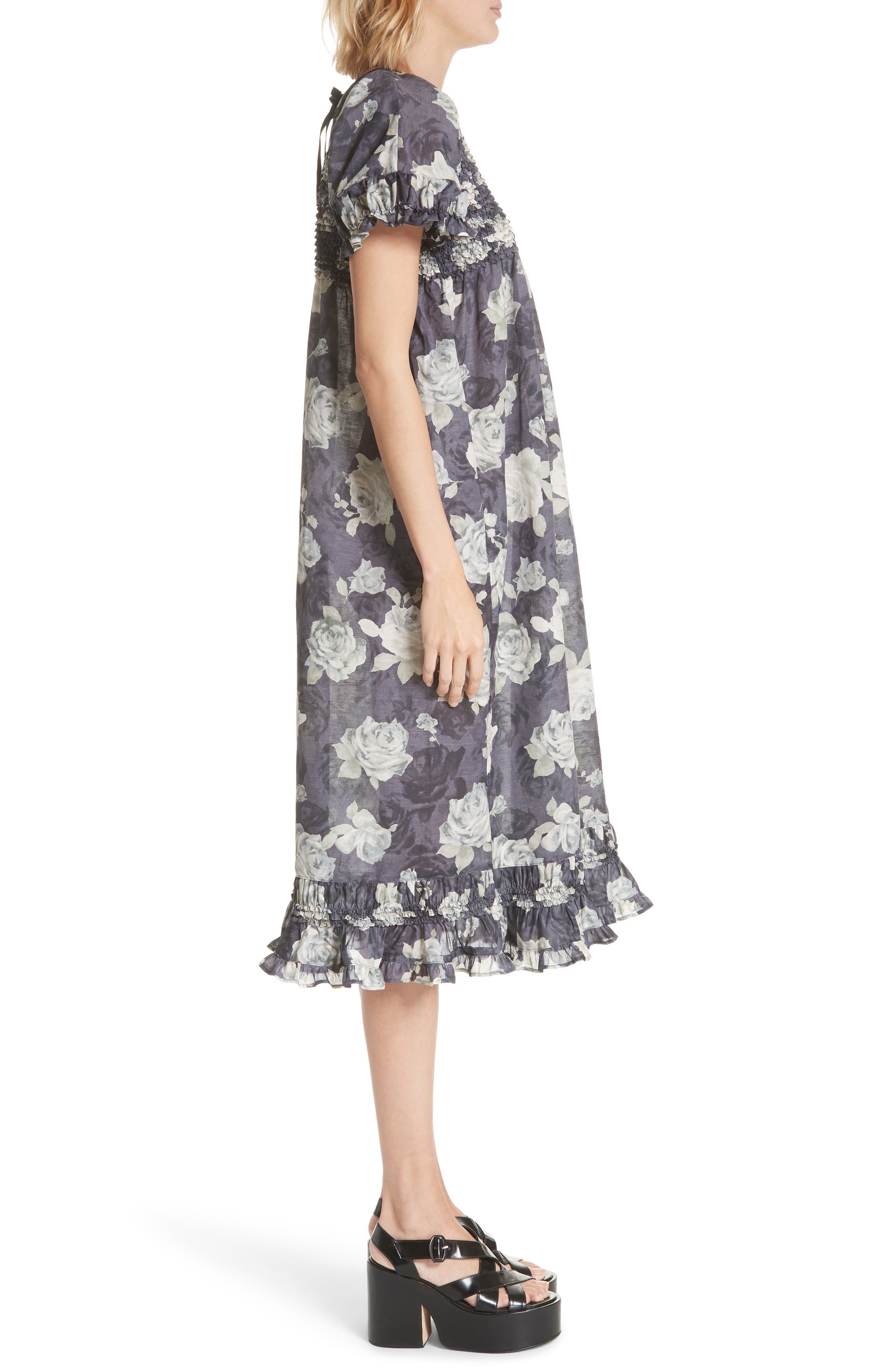 Rose Print Dress,                             Alternate thumbnail 3, color,                             Charcoal X Black