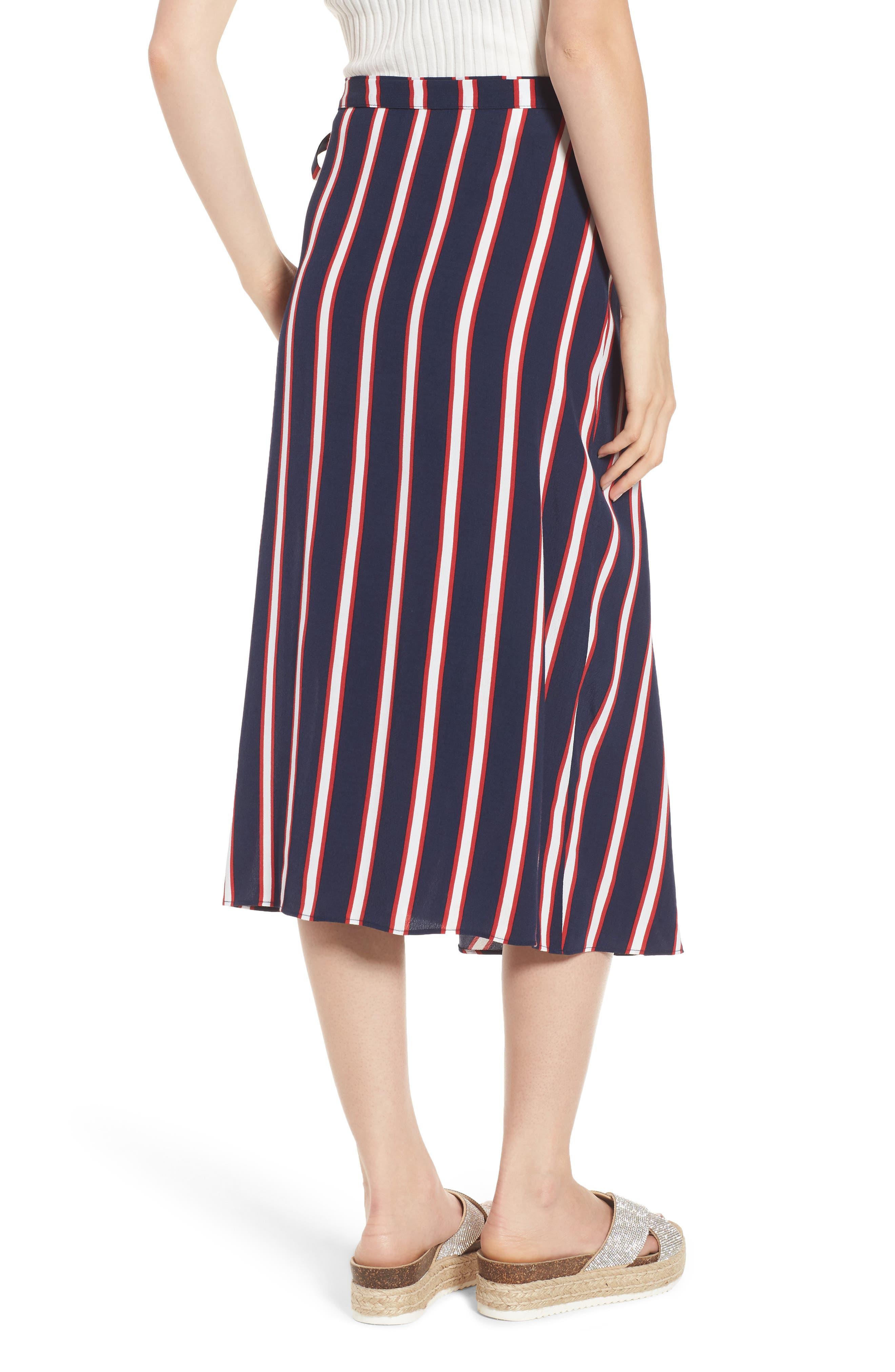 Stripe Midi Wrap Skirt,                             Alternate thumbnail 2, color,                             Navy Peacoat Awning Stripe
