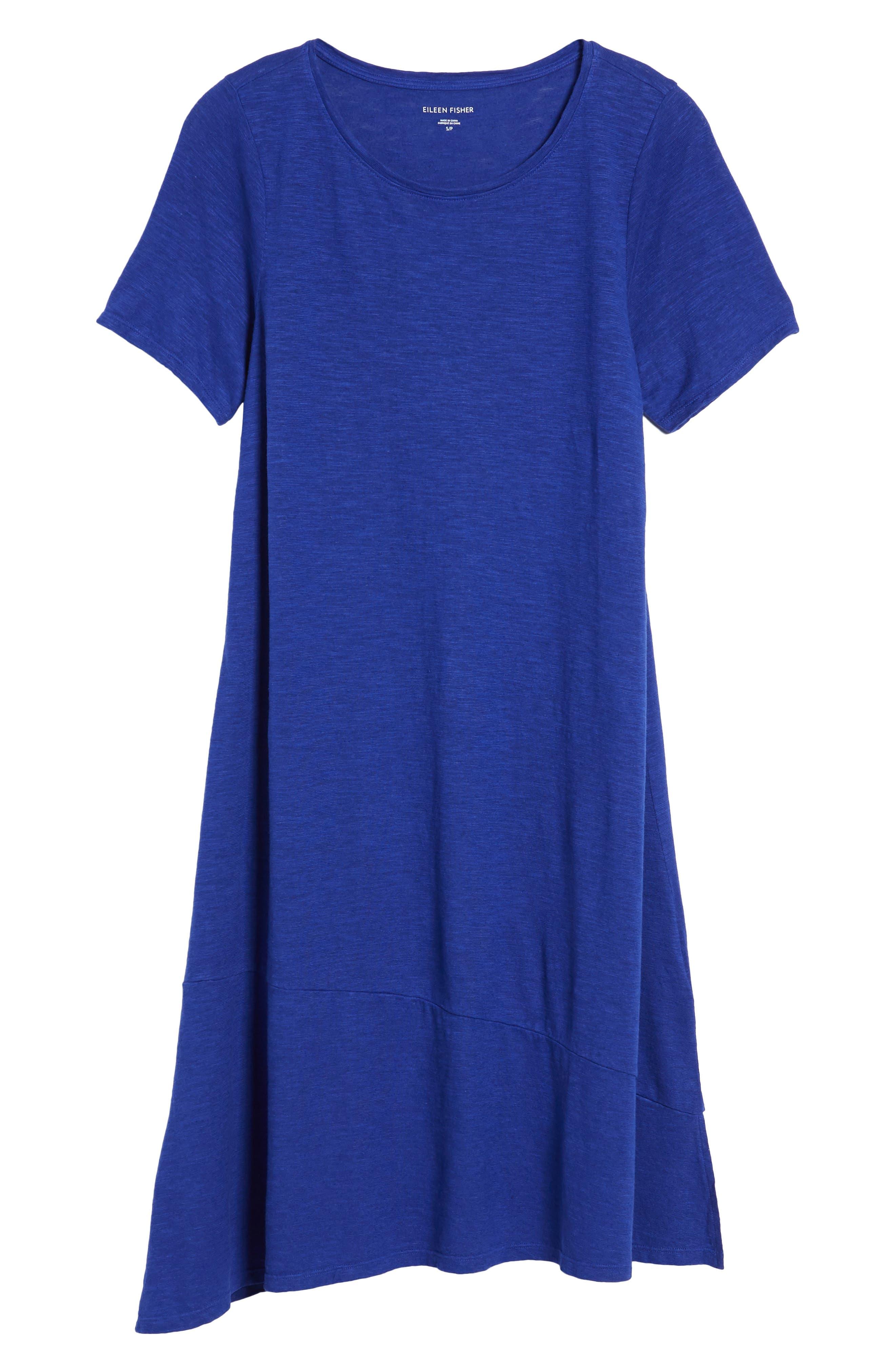 Asymmetrical Hemp Blend Shift Dress,                             Alternate thumbnail 7, color,                             Blue Violet