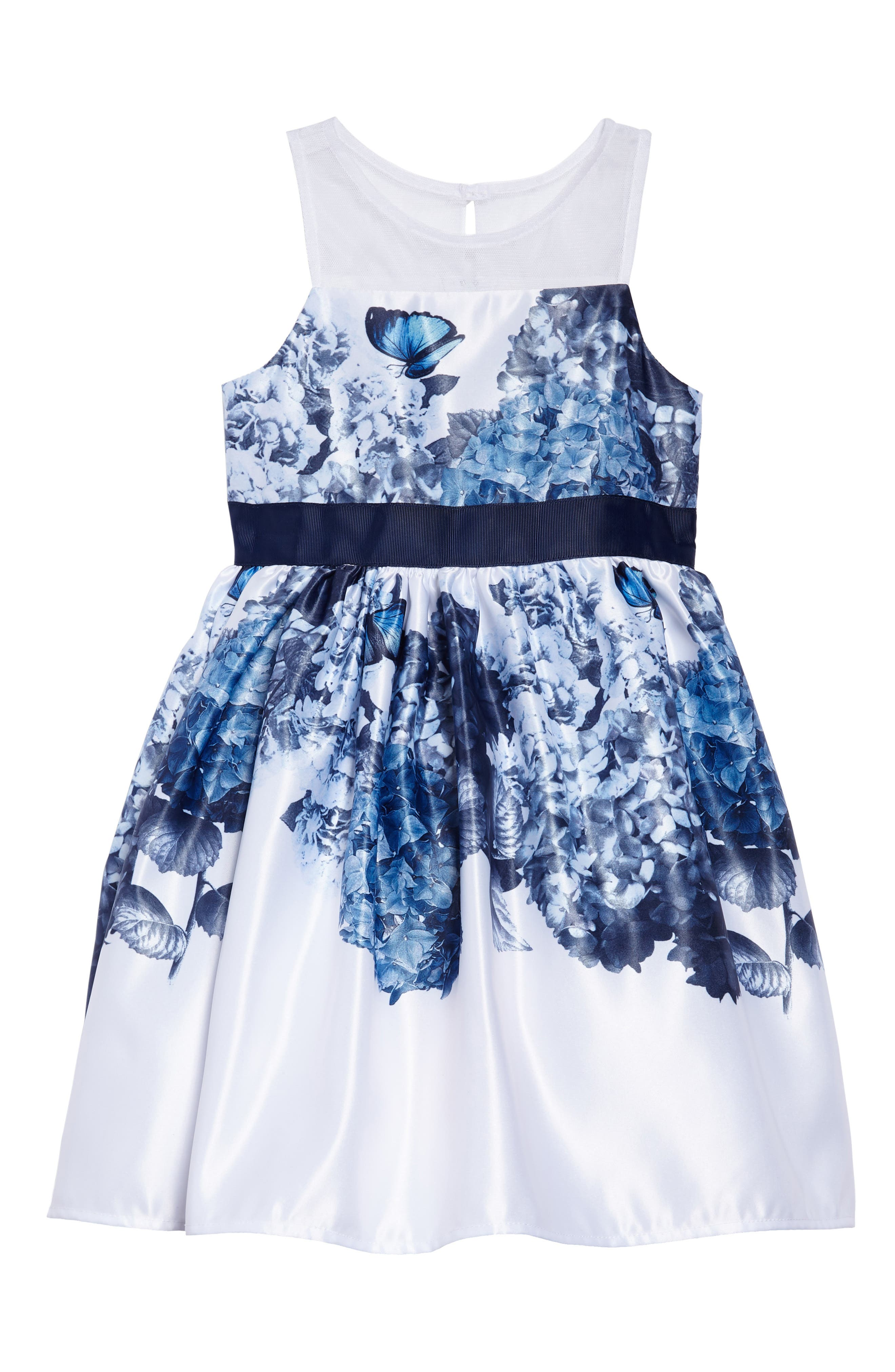 Floral Fit & Flare Satin Party Dress,                         Main,                         color, Blue/ White