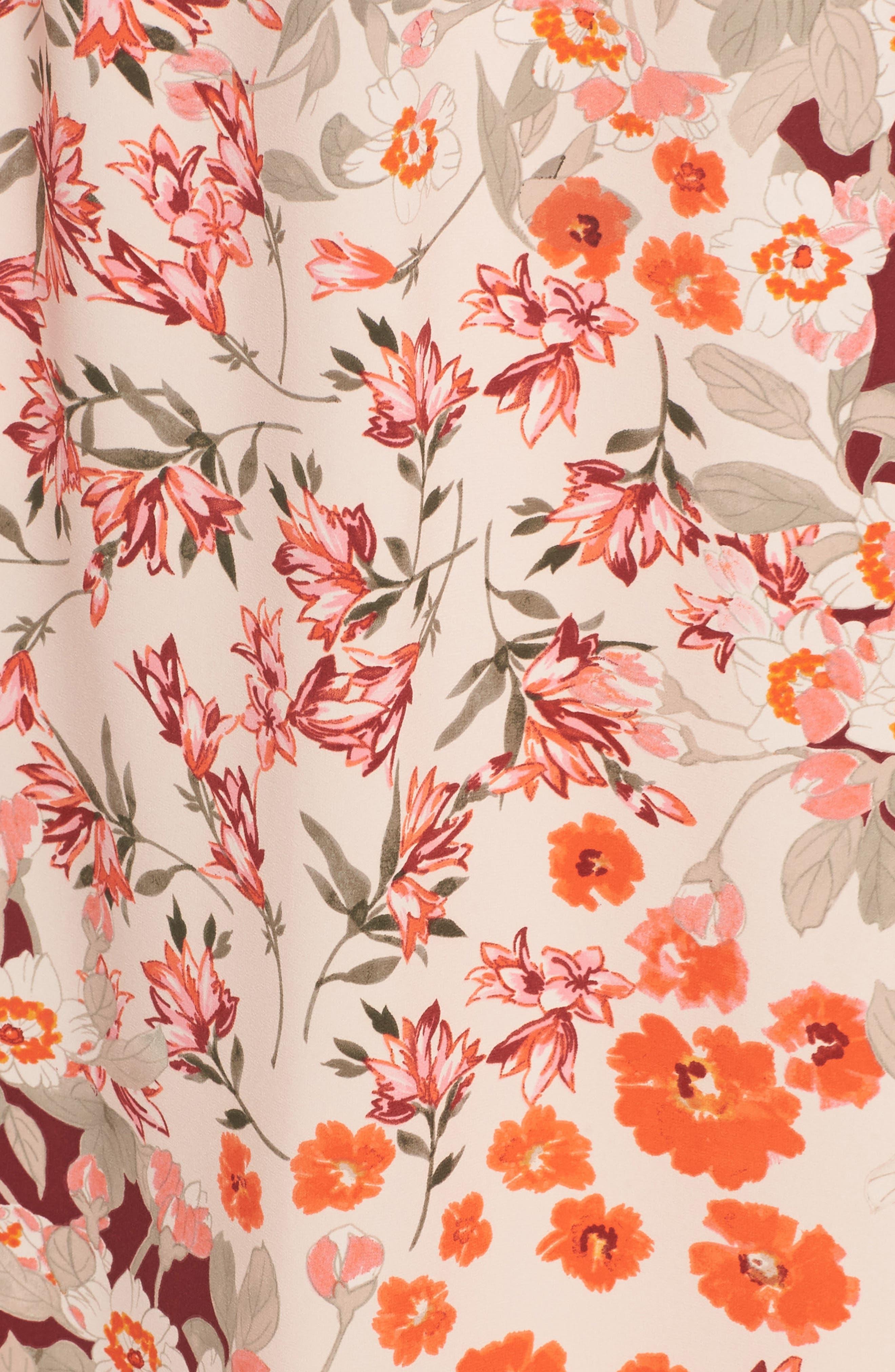 Floral Ruffle Sleeve Maxi Dress,                             Alternate thumbnail 6, color,                             Geranium Multi