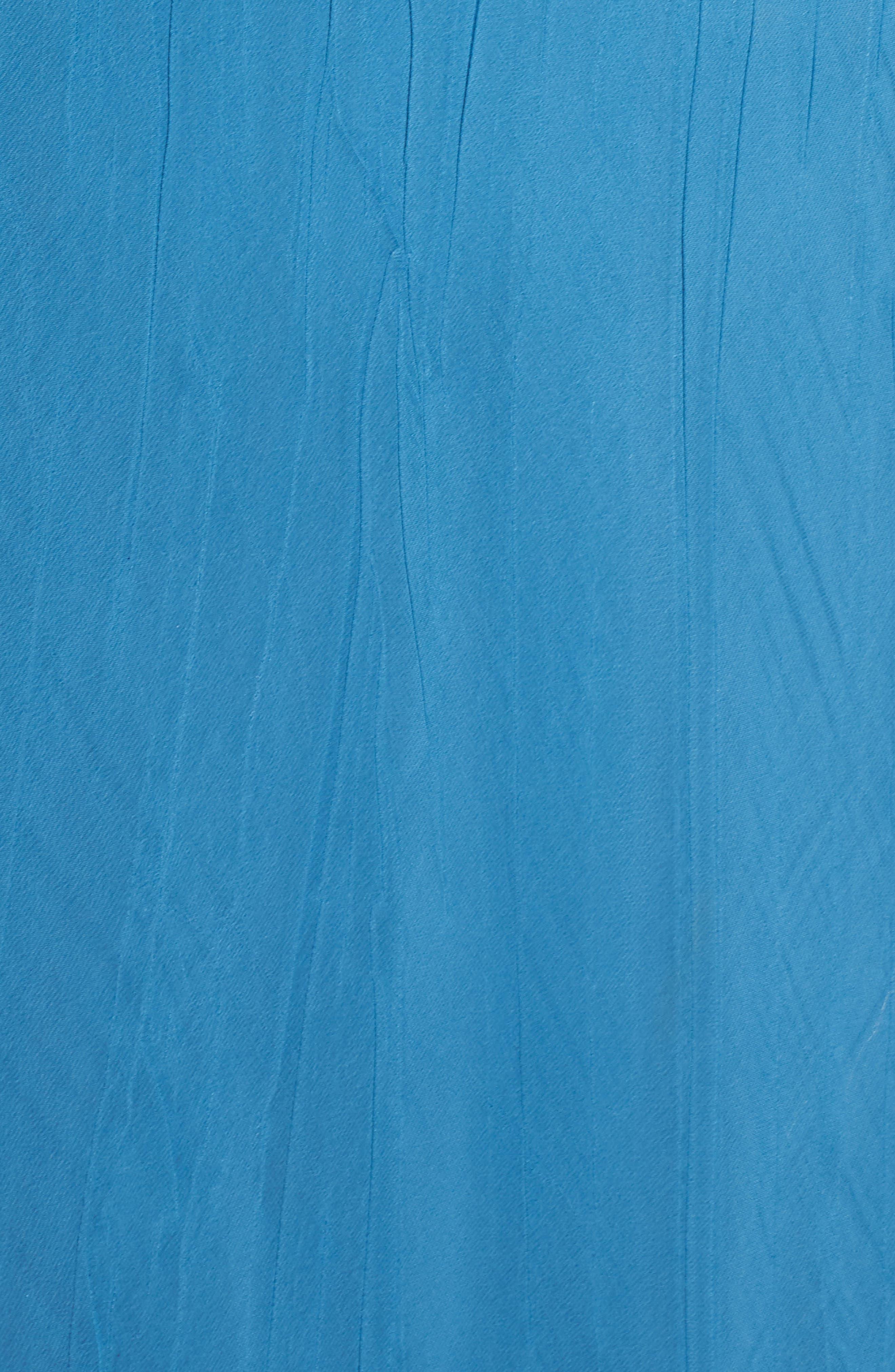 Beaded Neck Asymmetrical Charmeuse A-Line Dress,                             Alternate thumbnail 5, color,                             Blue Dusk Night Ombre