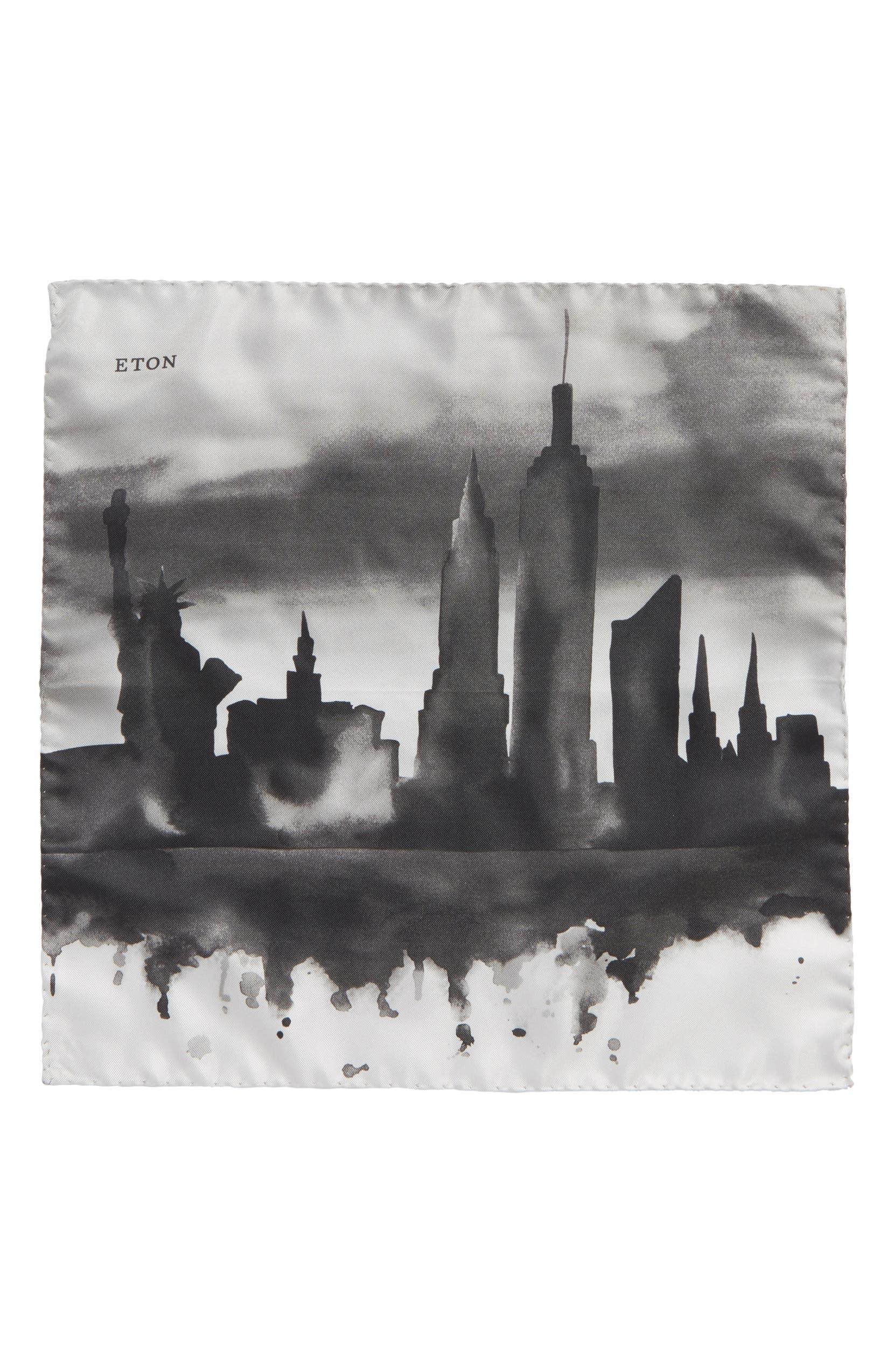 Eton New York Skyline Silk Pocket Square | Nordstrom
