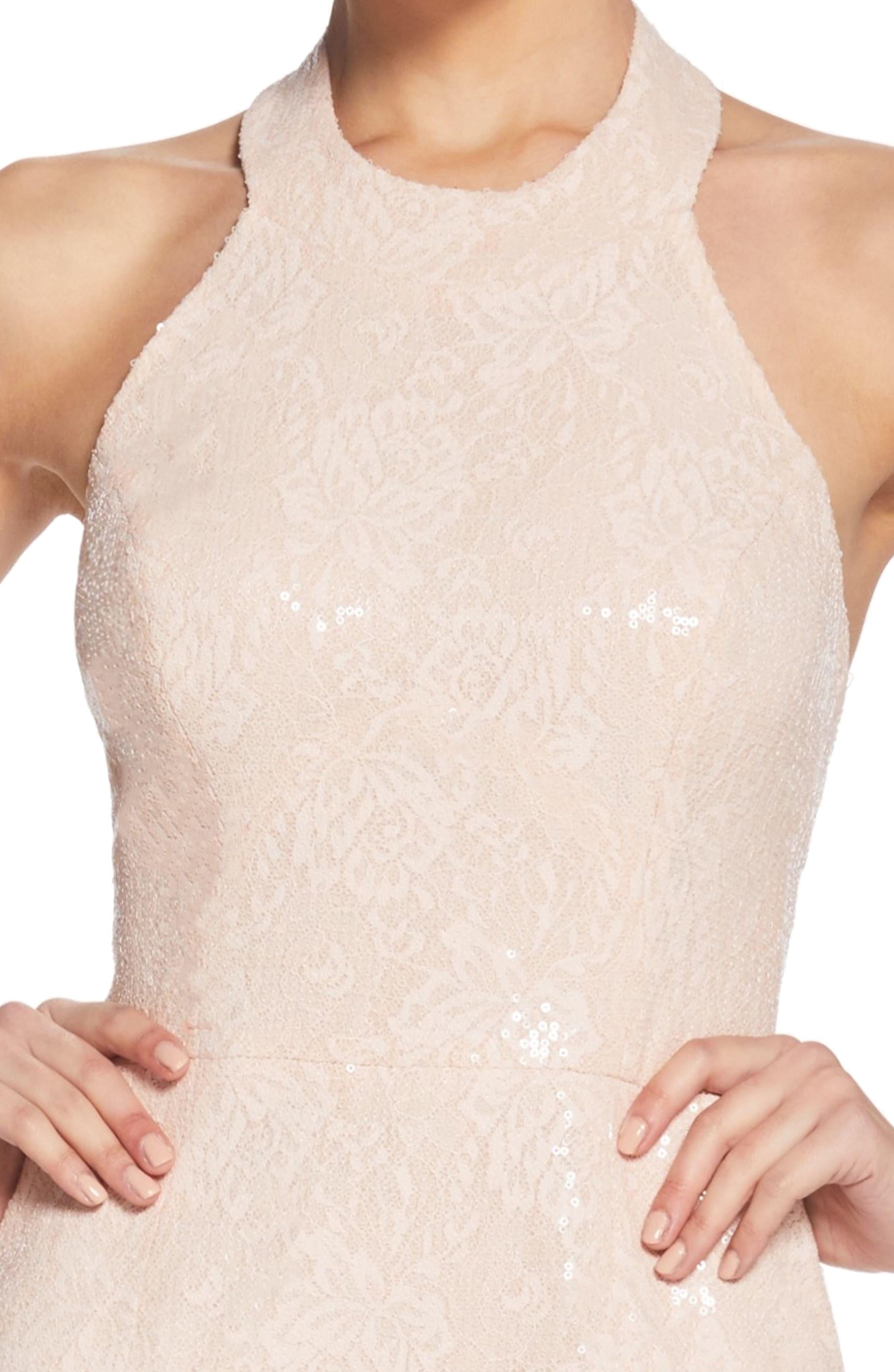 Cassie Halter Sequin Dress,                             Alternate thumbnail 4, color,                             Pink/ Nude