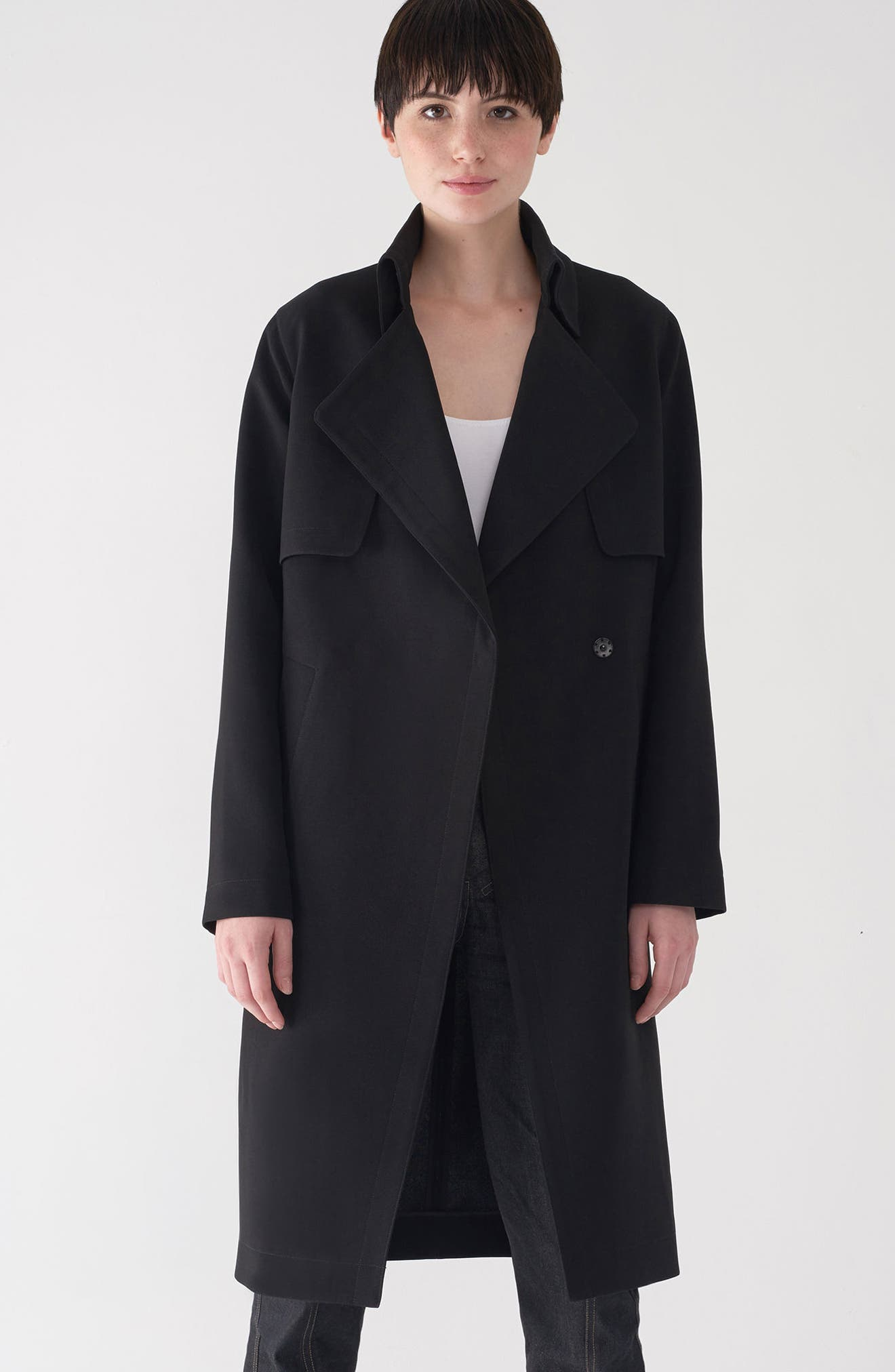 Long Duster Coat,                             Alternate thumbnail 2, color,                             Black