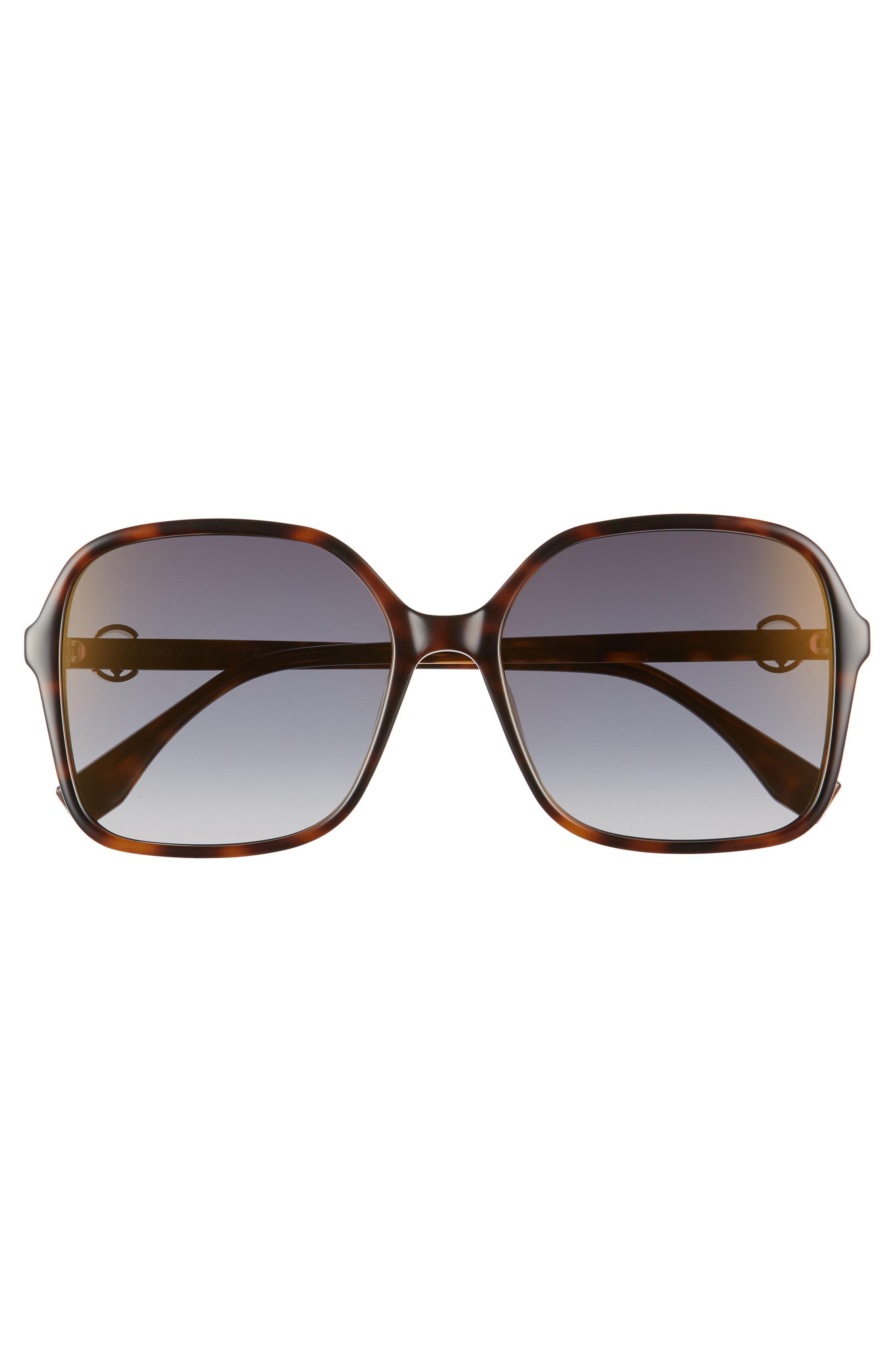 58mm Square Sunglasses,                             Alternate thumbnail 3, color,                             Dark Havana