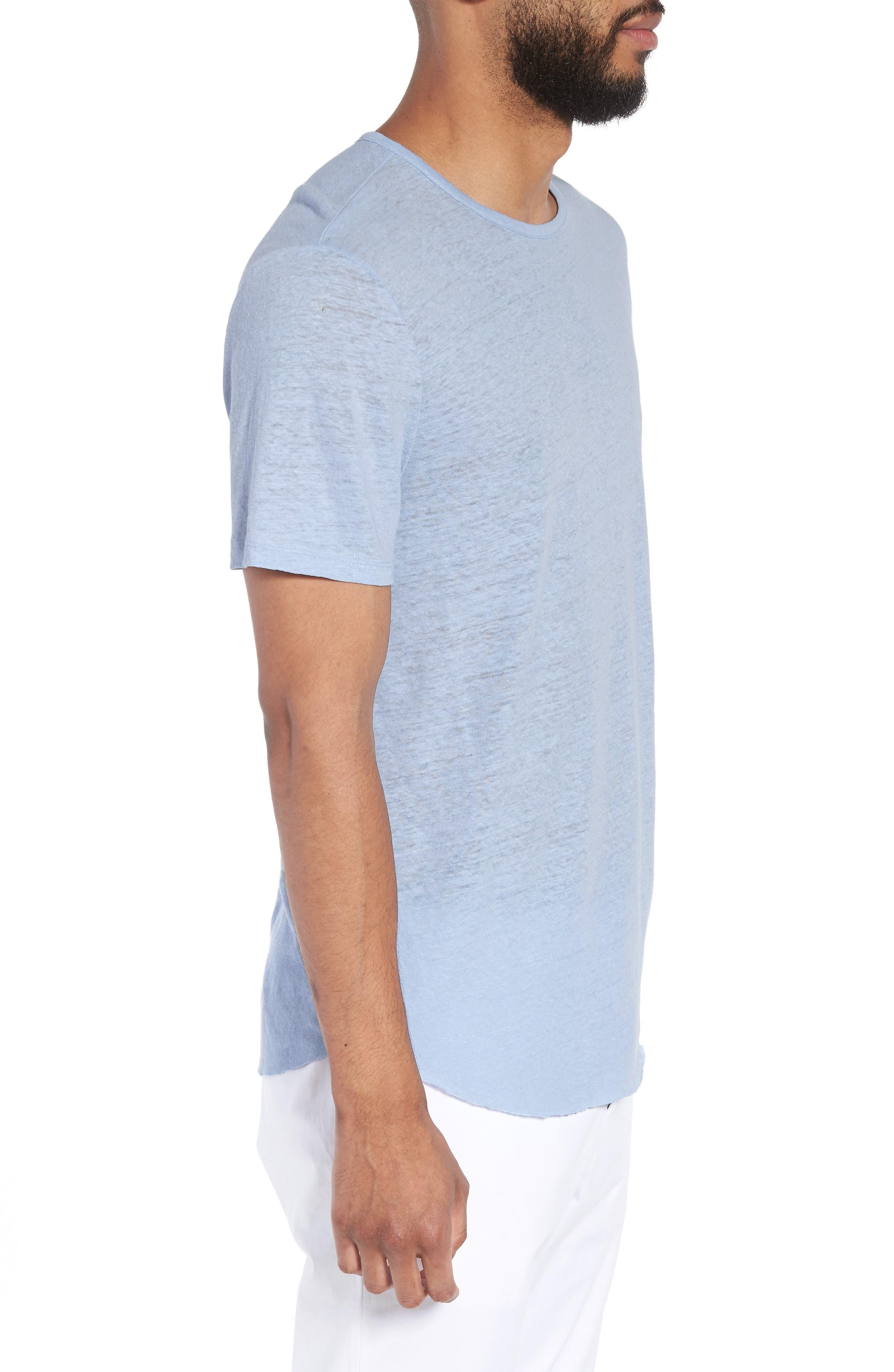 Raw Hem Linen & Cotton T-Shirt,                             Alternate thumbnail 3, color,                             Feather