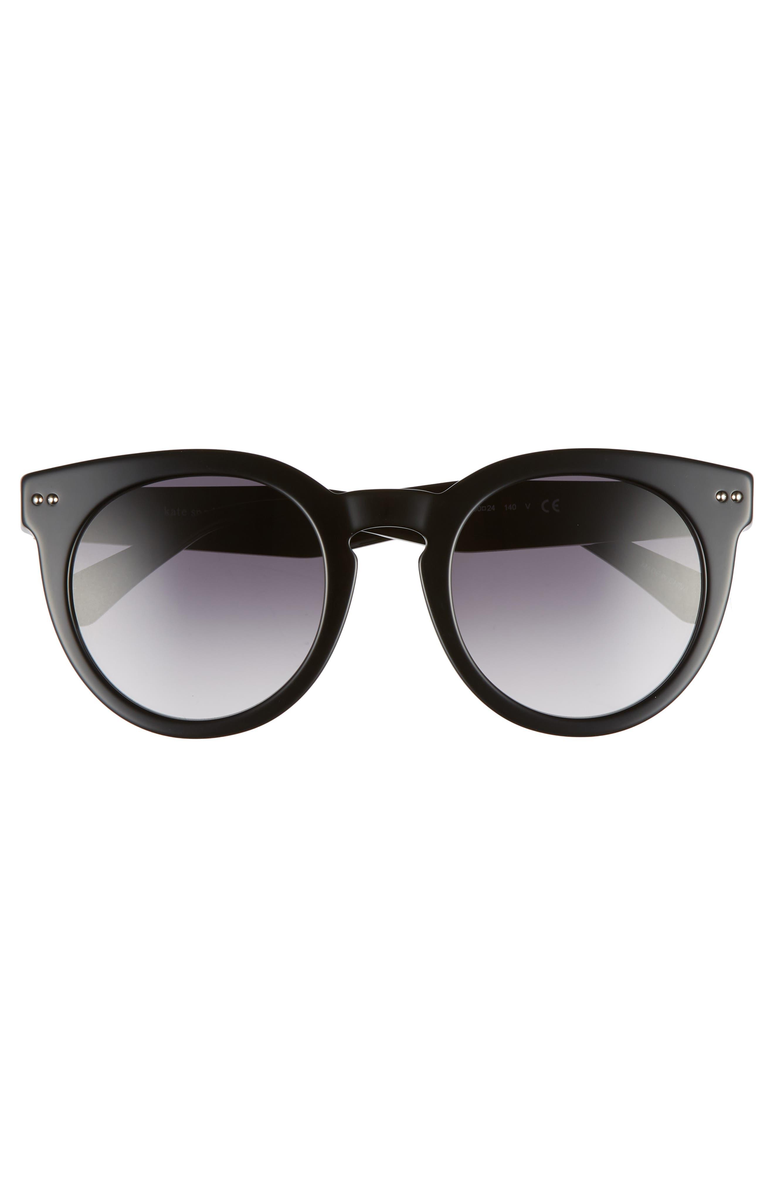 alexuss 50mm round sunglasses,                             Alternate thumbnail 3, color,                             Black