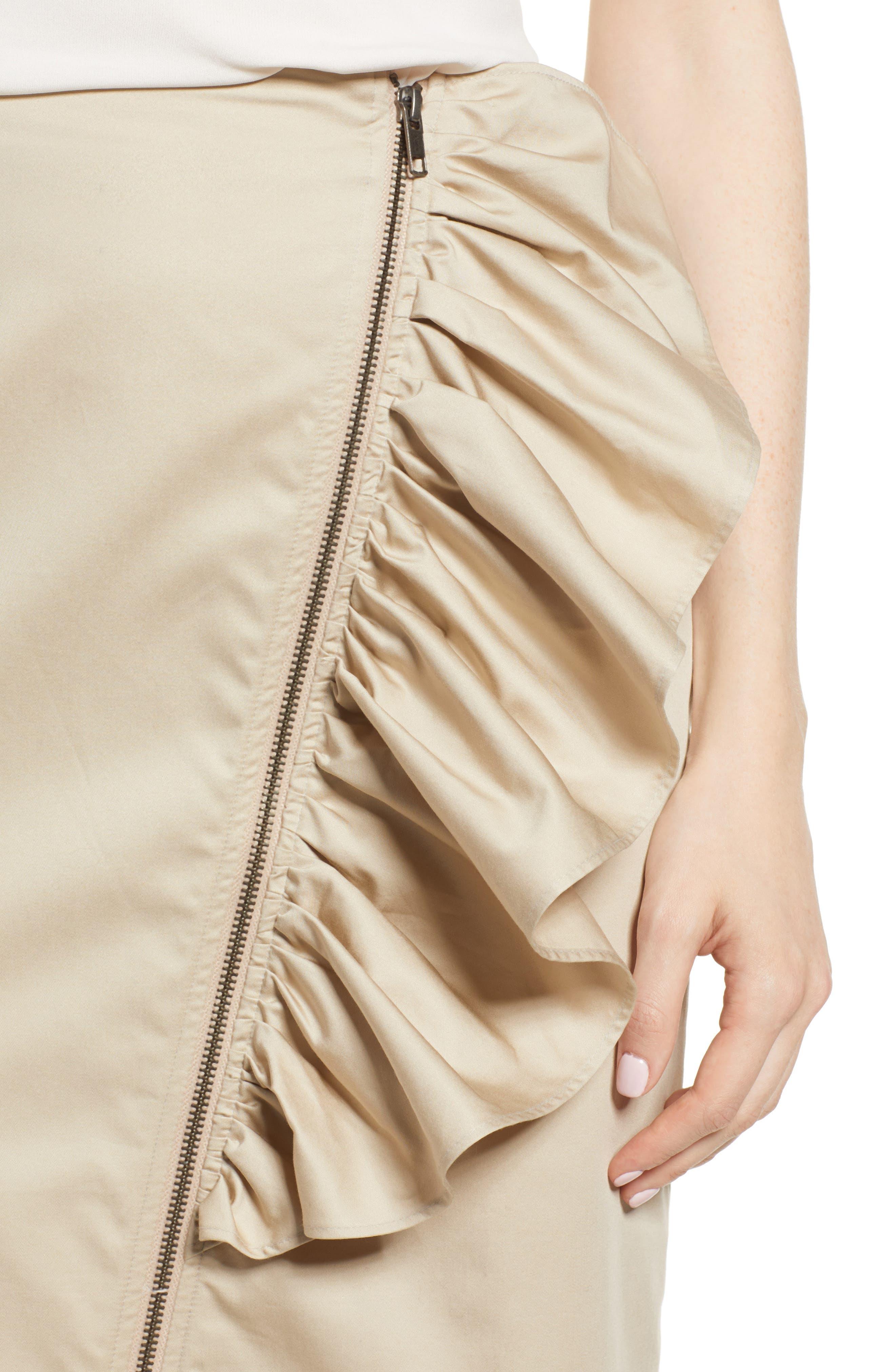Asymmetrical Zip Ruffle Midi Skirt,                             Alternate thumbnail 4, color,                             Tan Oxford