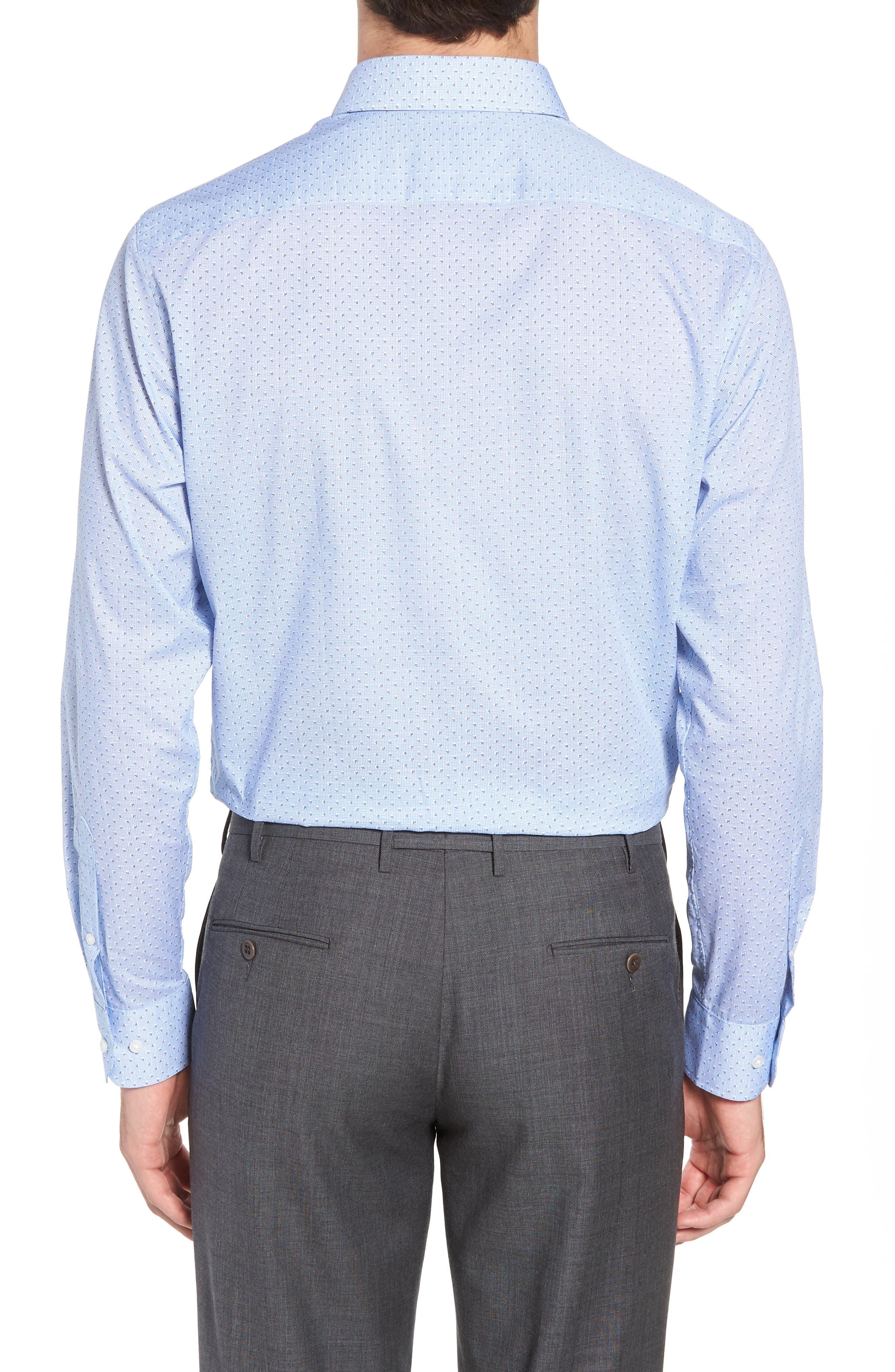 Trim Fit Print Dress Shirt,                             Alternate thumbnail 3, color,                             Blue Robbia