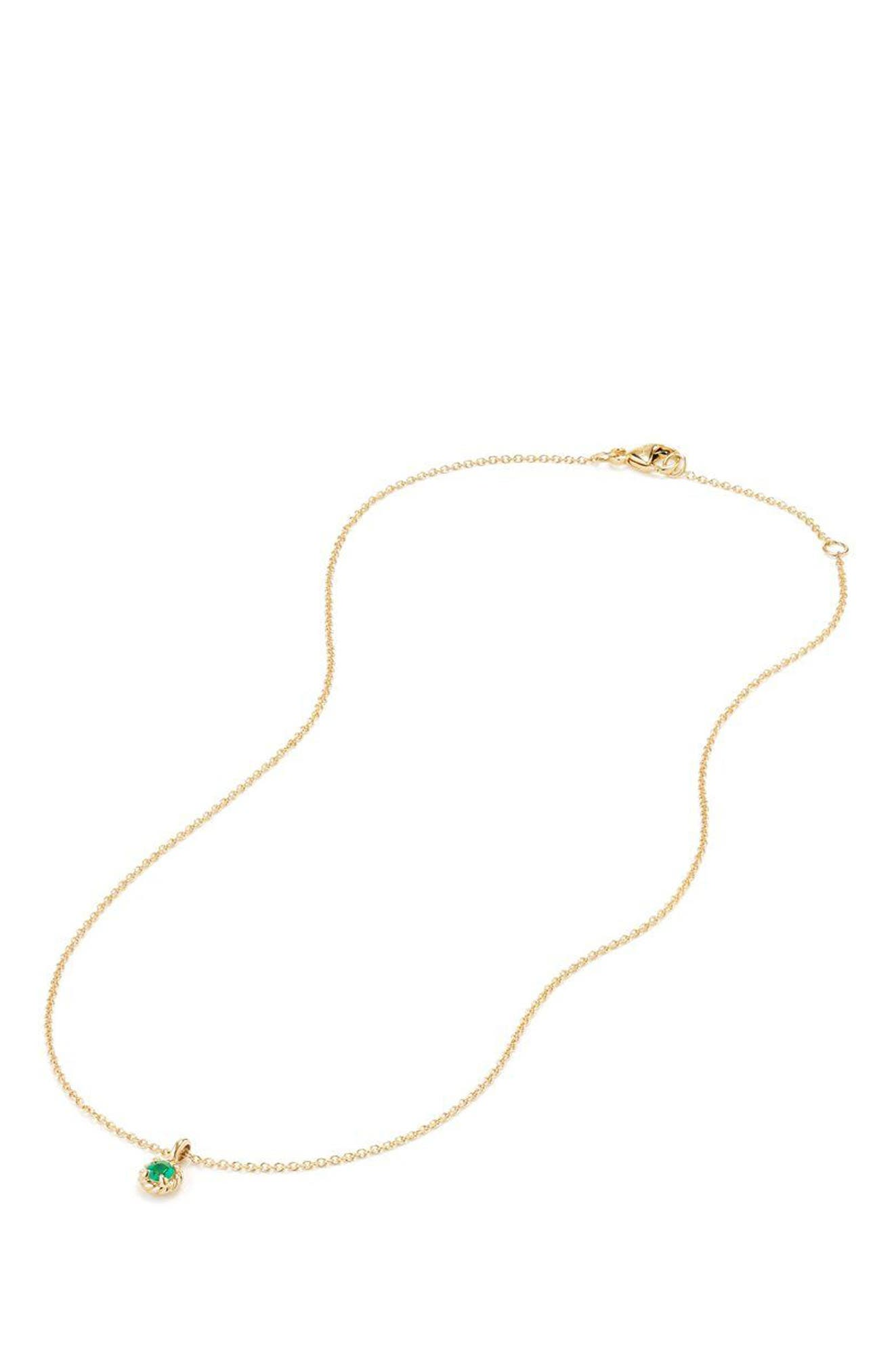 Cable Collectibles<sup>®</sup> Kids' Birthstone Necklace in 18K Gold,                             Alternate thumbnail 2, color,                             Emerald