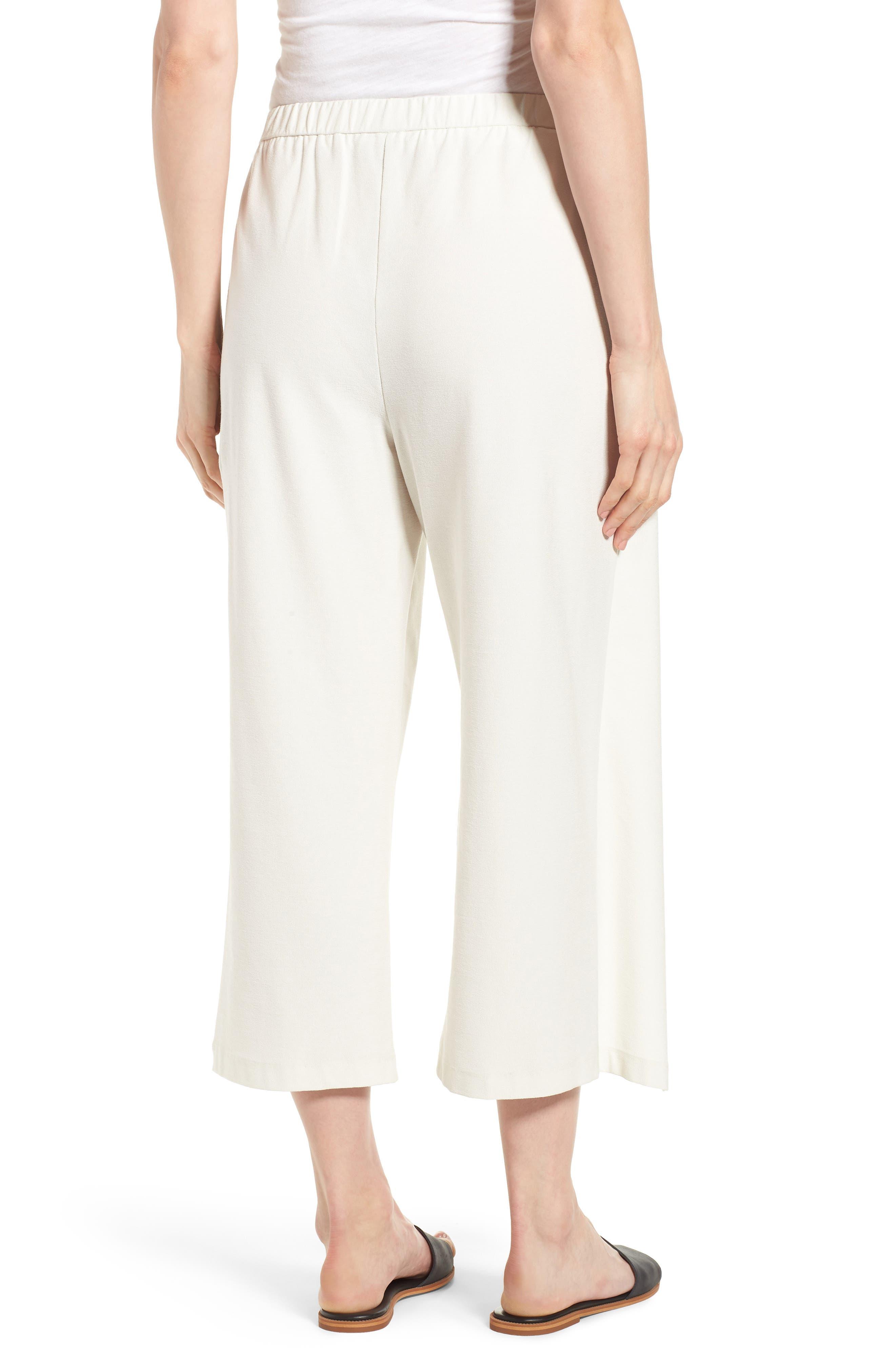 Washable Stretch Crepe Tie-Front Crop Wide Leg Pants,                             Alternate thumbnail 2, color,                             Bone