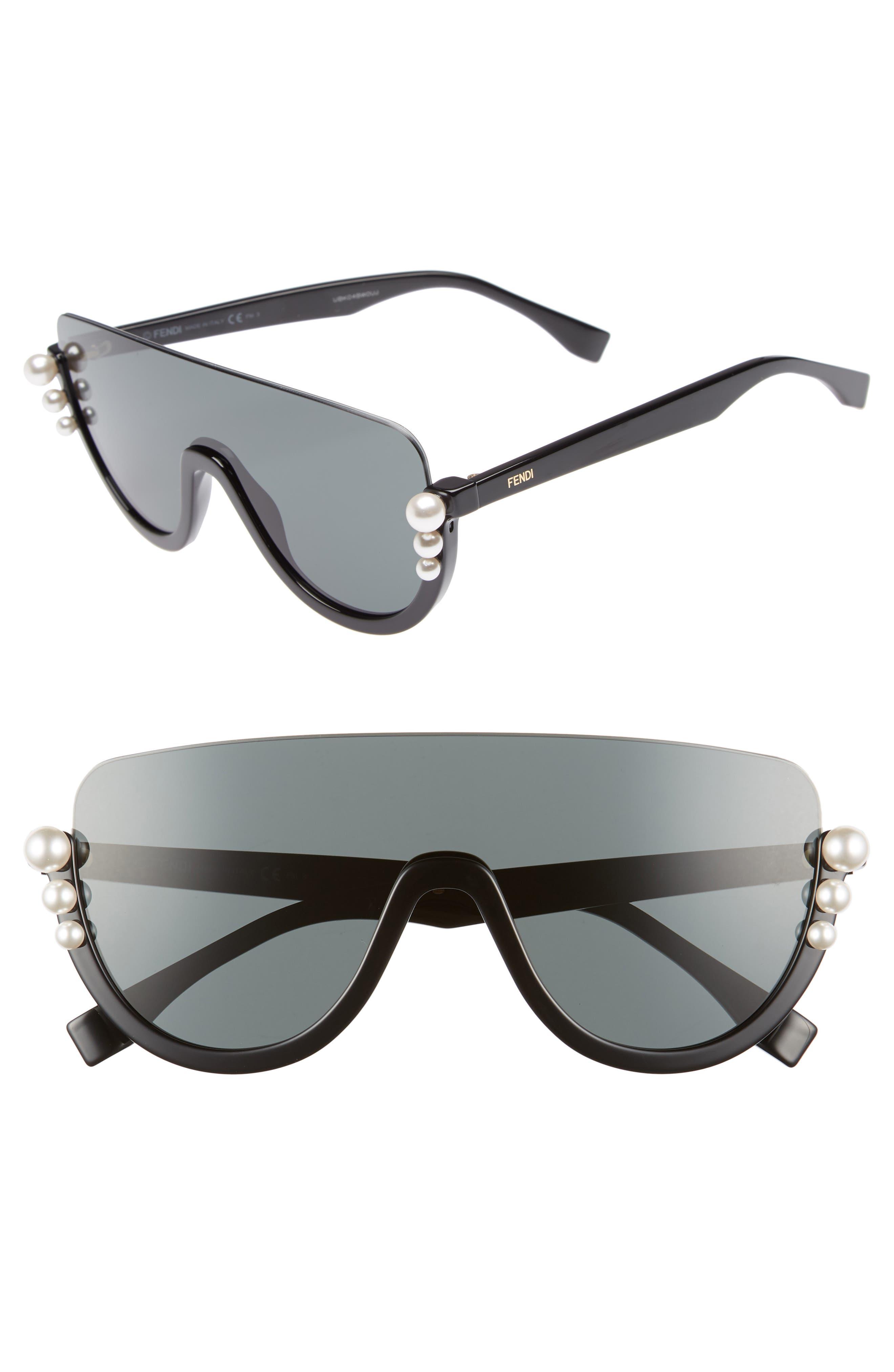 57mm Polarized Rimless Shield Sunglasses,                             Main thumbnail 1, color,                             Black