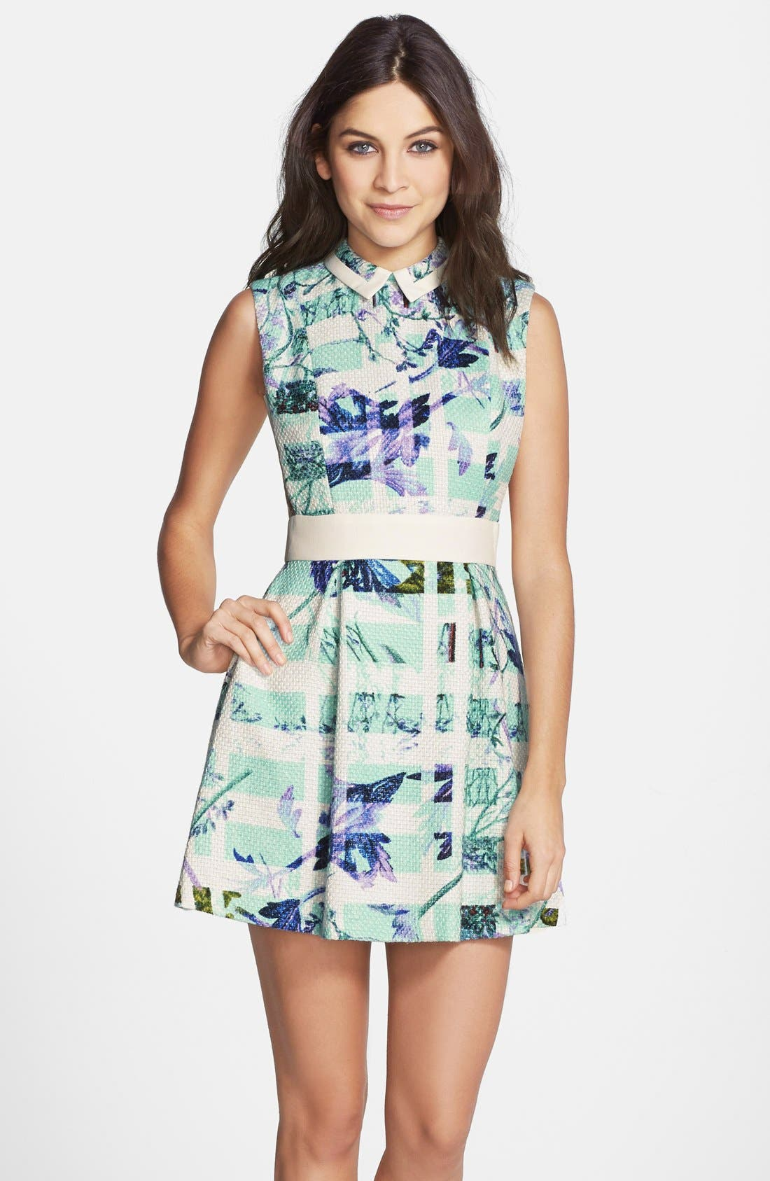 Main Image - BCBGeneration Print Woven Fit & Flare Dress