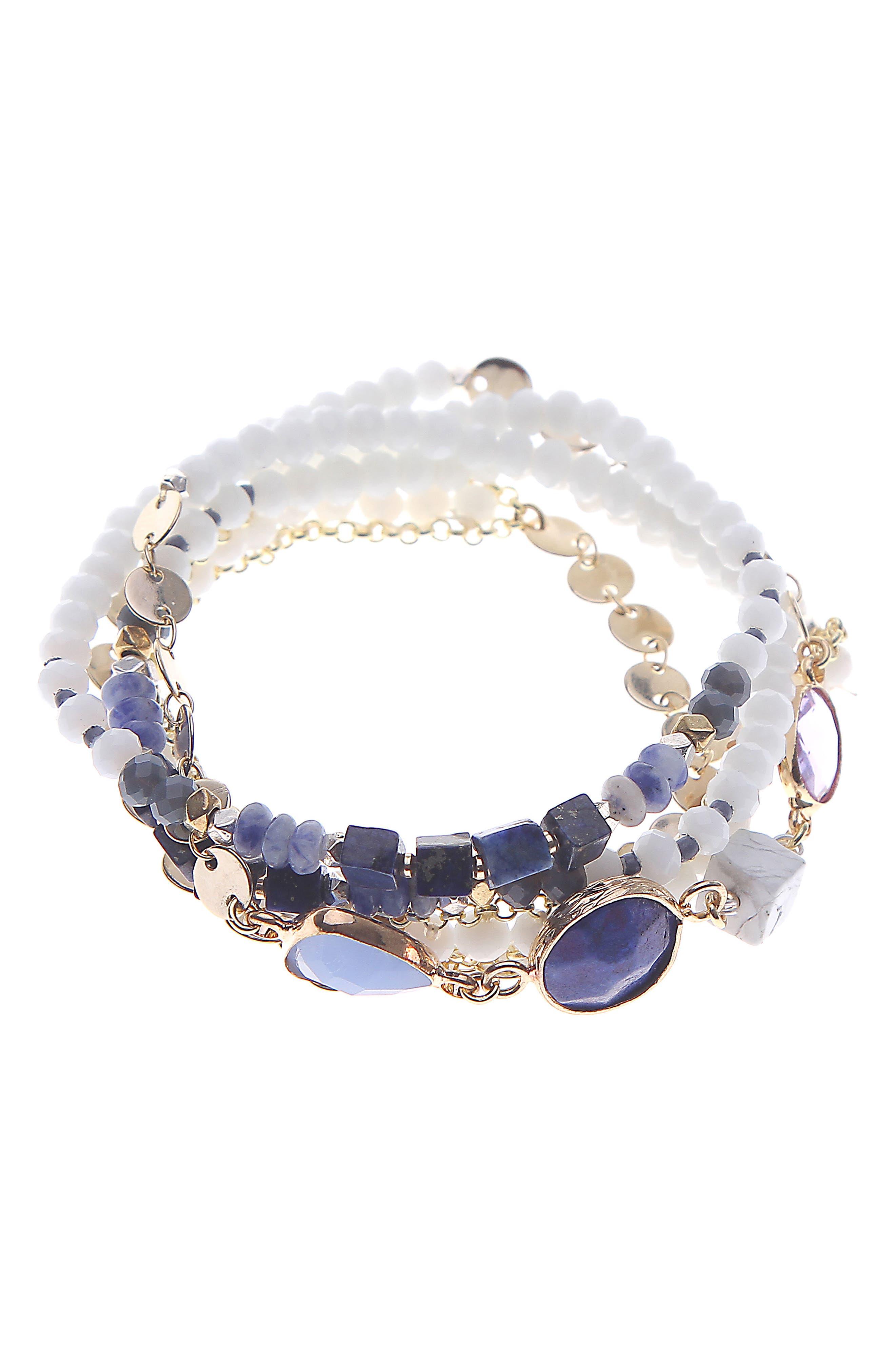 Beaded Wrap Bracelet,                         Main,                         color, Blue
