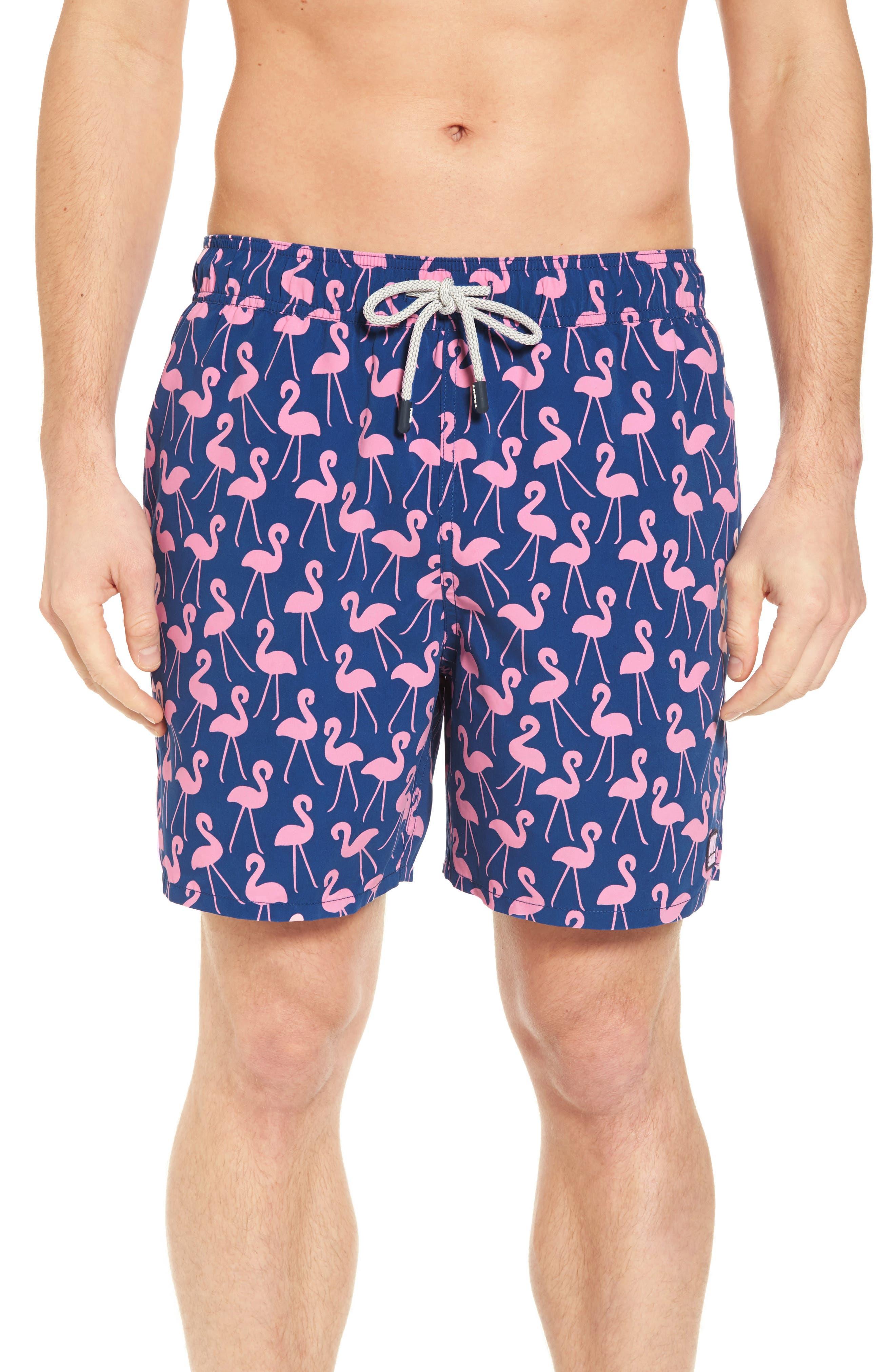 Flamingo Print Swim Trunks,                         Main,                         color, Rose / Blue