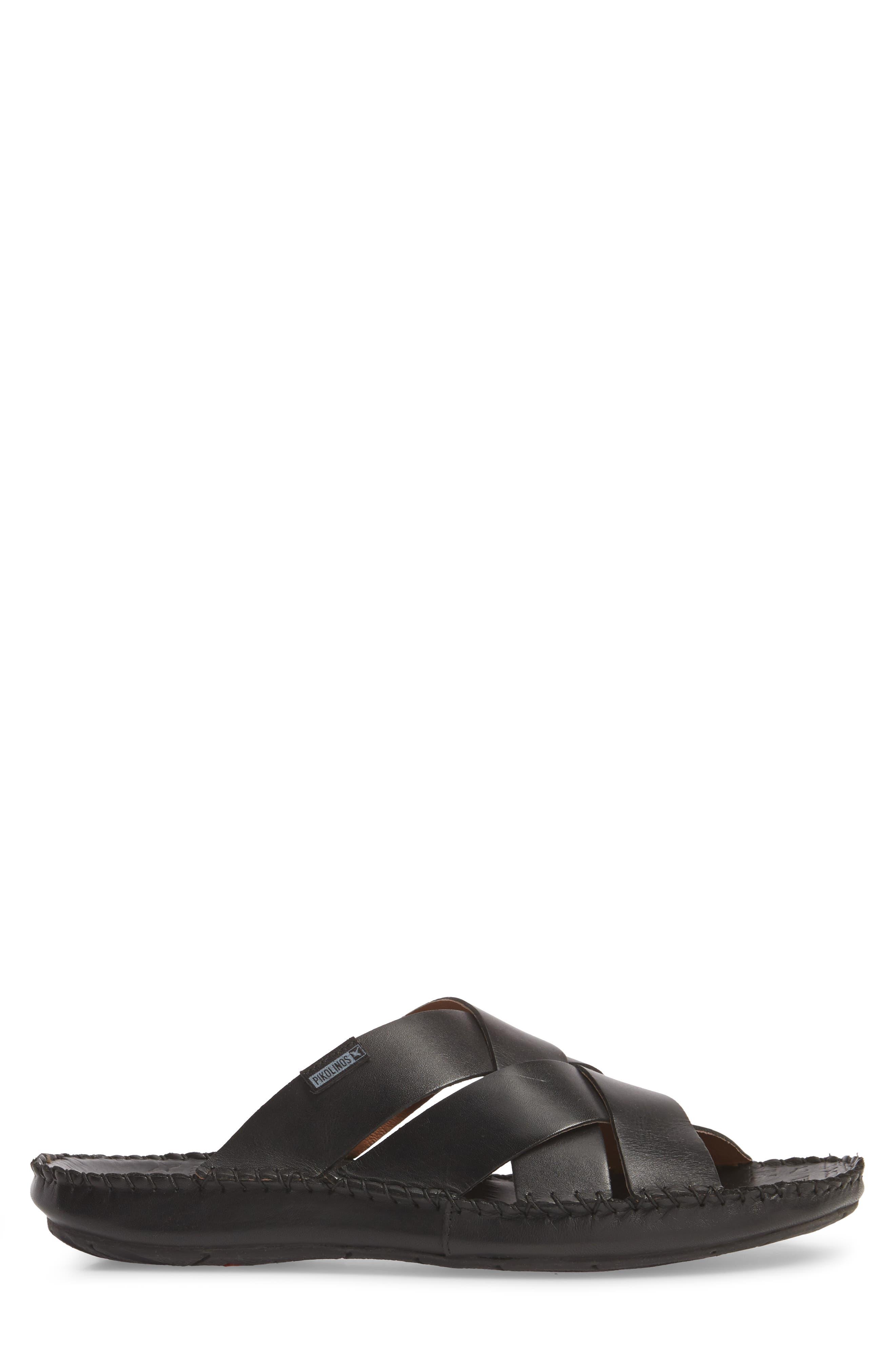 'Tarifa' Slide Sandal,                             Alternate thumbnail 3, color,                             Black Leather