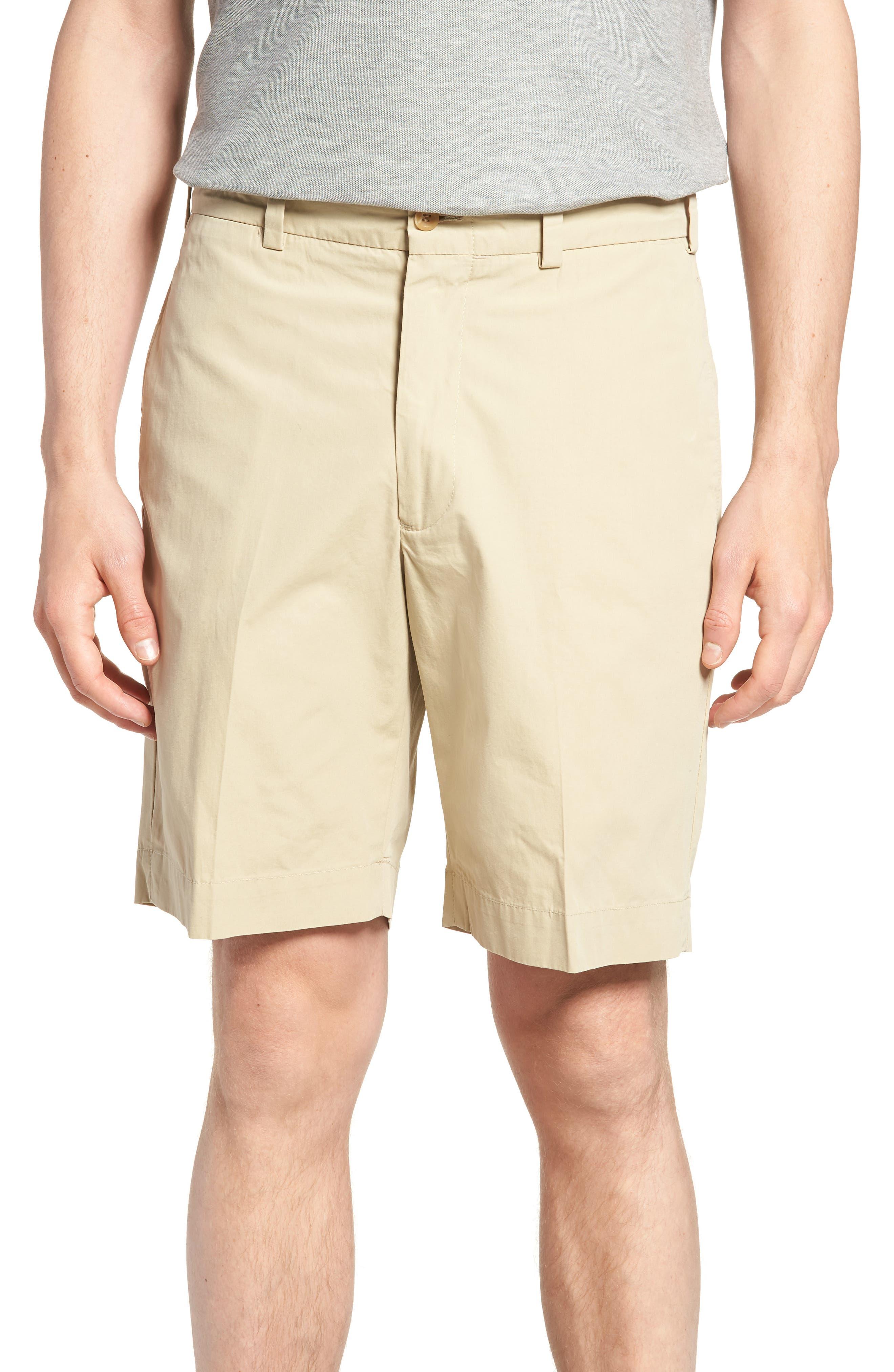 M2 Classic Fit Flat Front Tropical Cotton Poplin Shorts,                         Main,                         color, Khaki