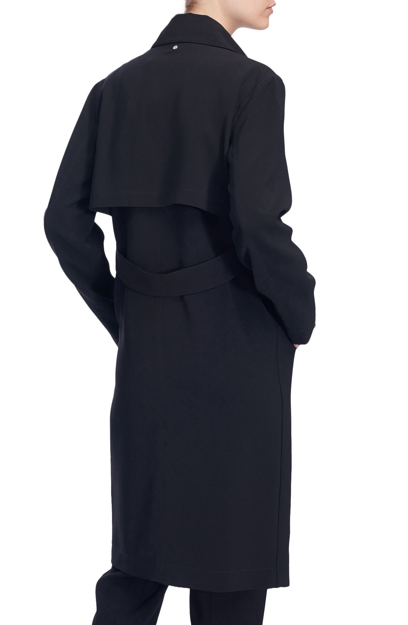 Long Duster Coat,                             Alternate thumbnail 4, color,                             Black