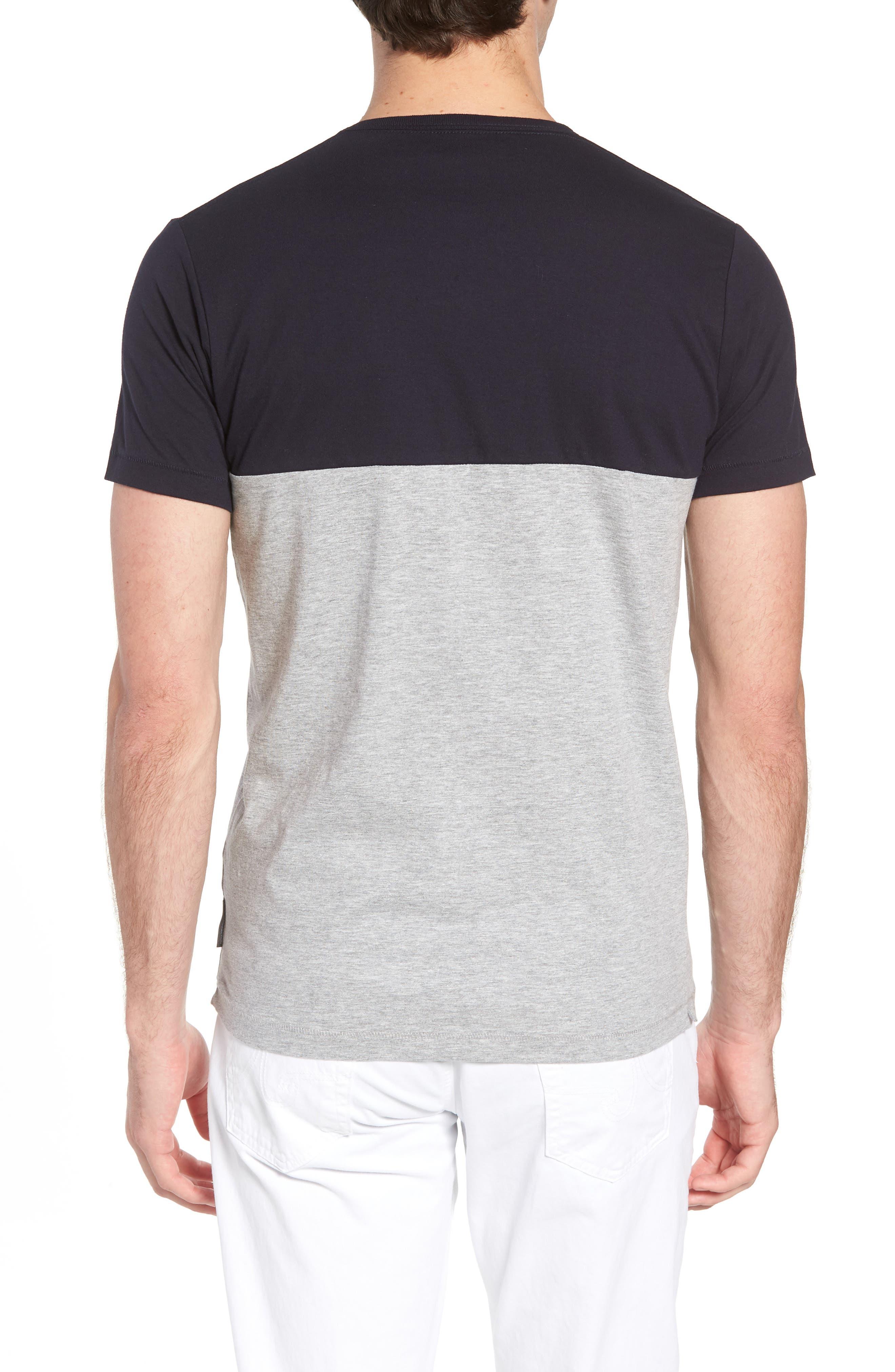 Block Crewneck T-Shirt,                             Alternate thumbnail 2, color,                             Marine Blue Light Grey
