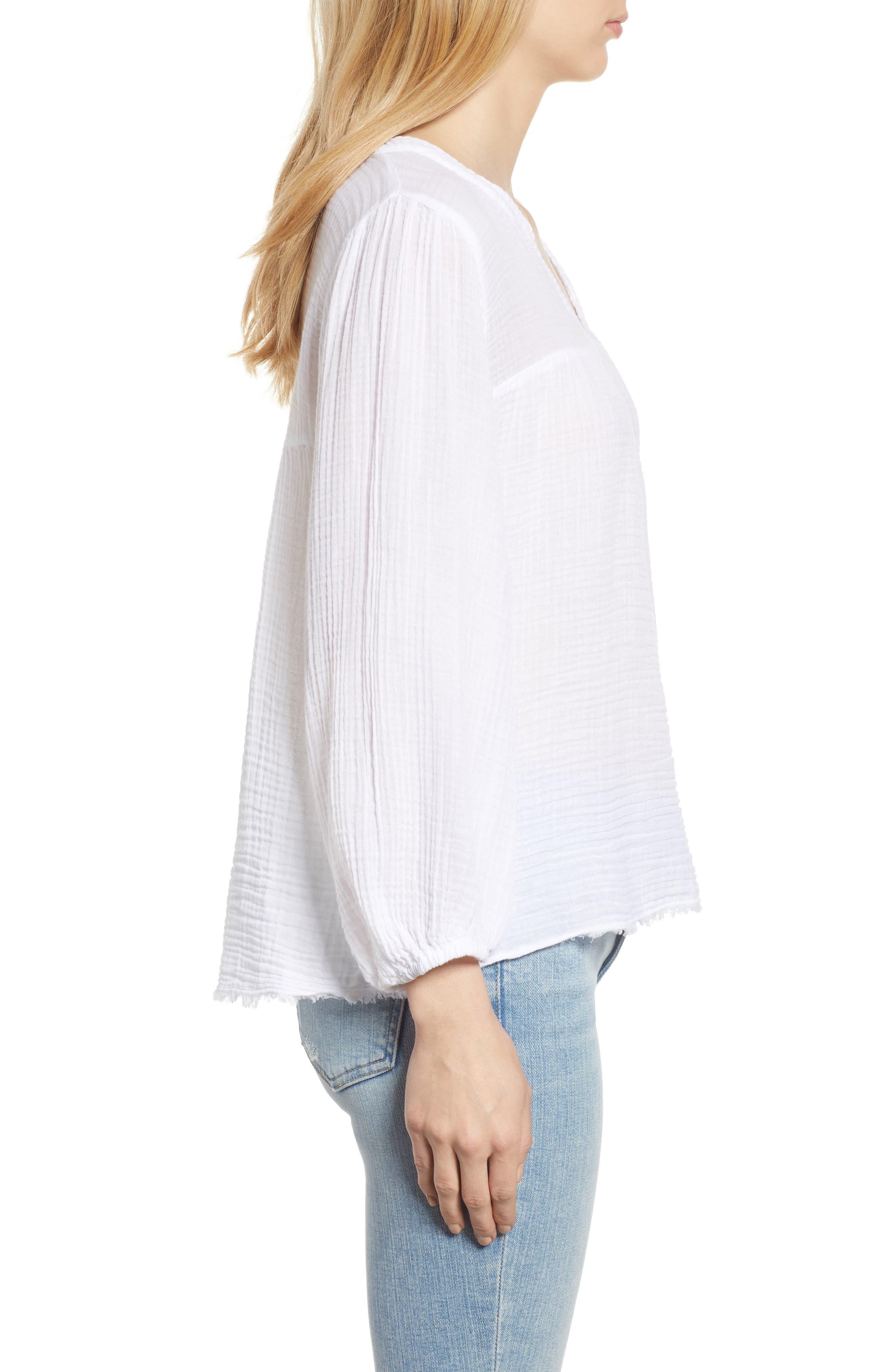 Cotton Gauze Peasant Top,                             Alternate thumbnail 3, color,                             White
