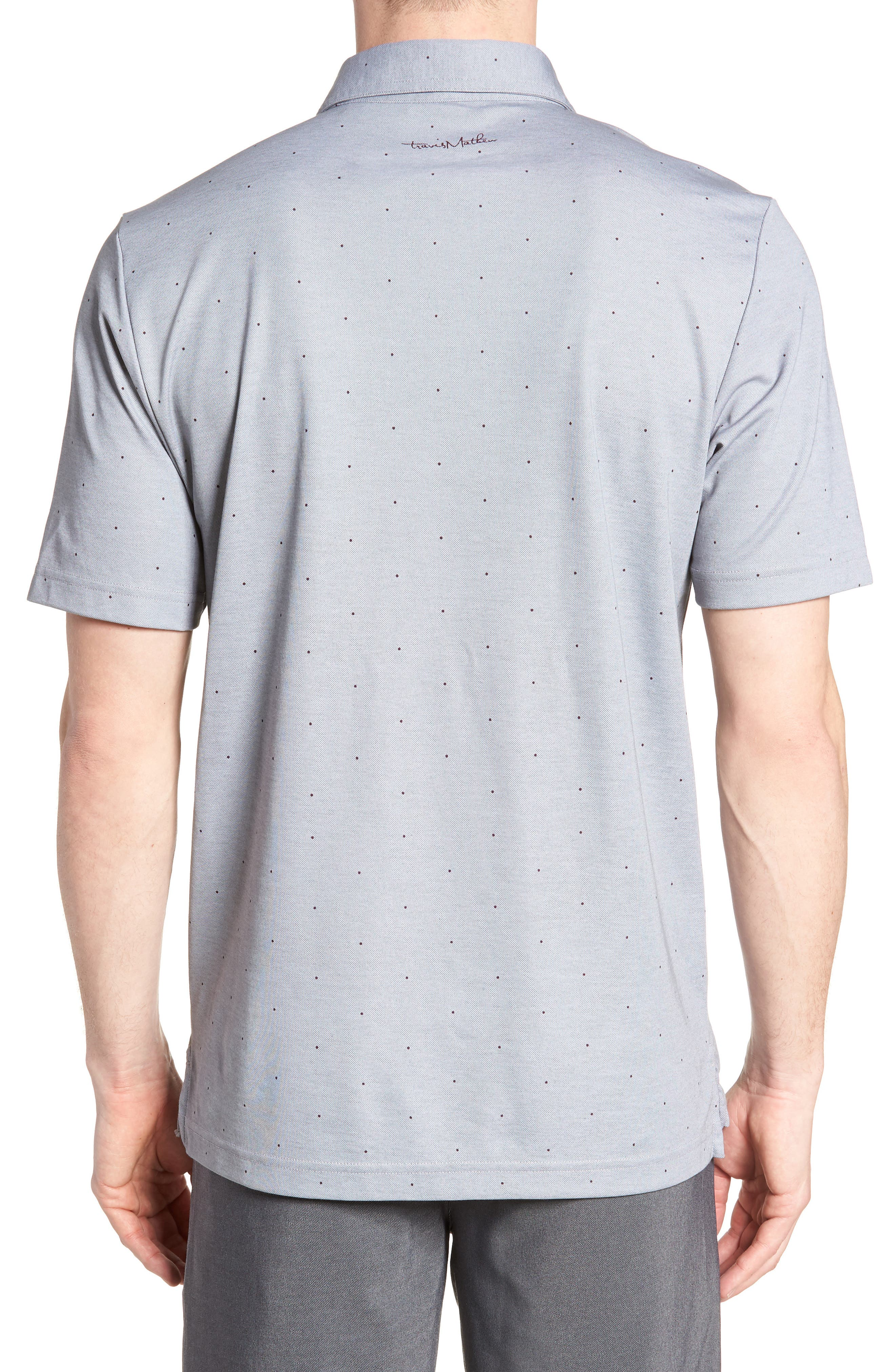 'JJ's Legacy' Trim Fit Polka Dot Polo,                             Alternate thumbnail 2, color,                             Heather Quiet Shade