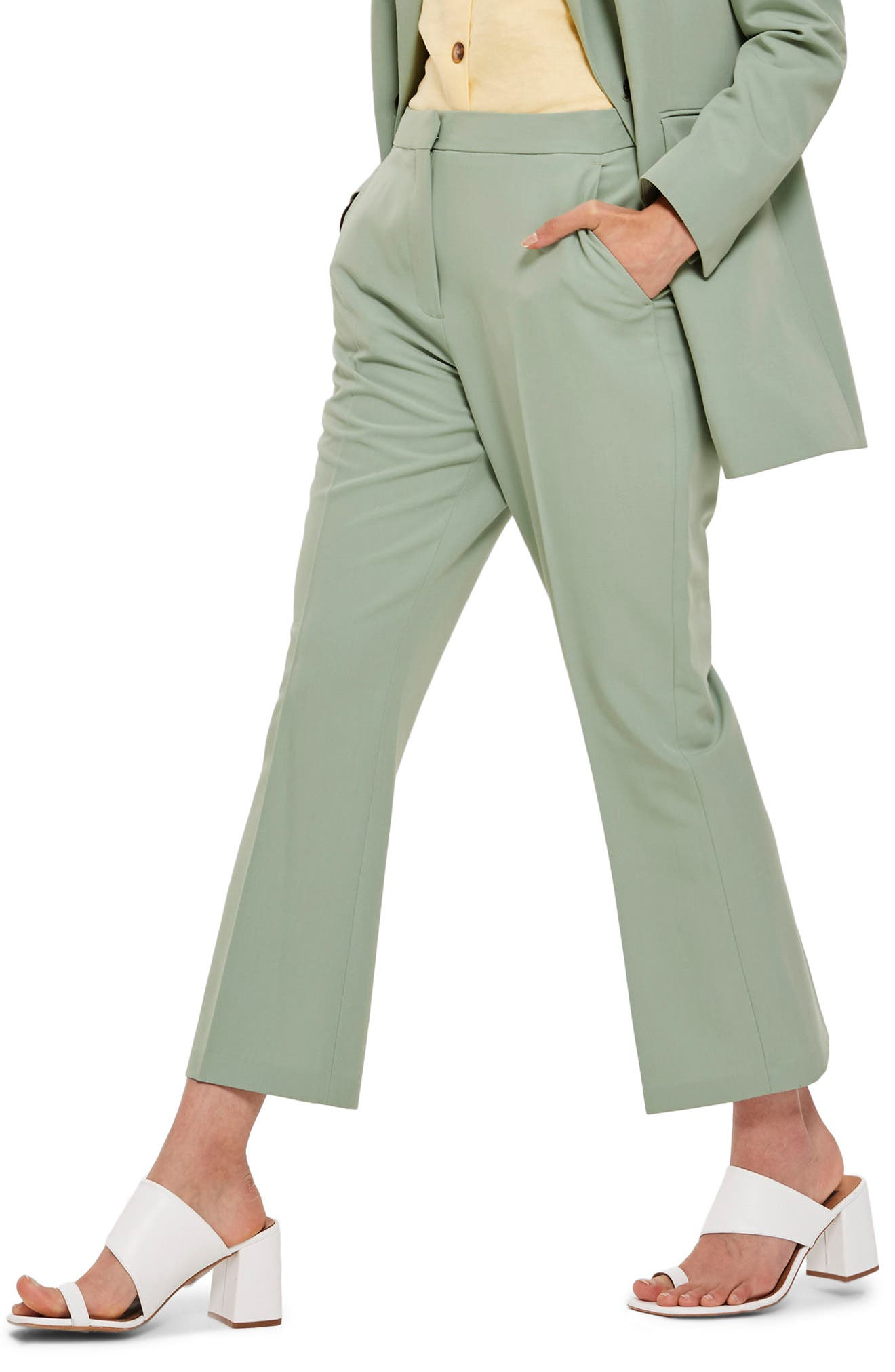 Cropped Suit Trousers,                             Main thumbnail 1, color,                             Light Green