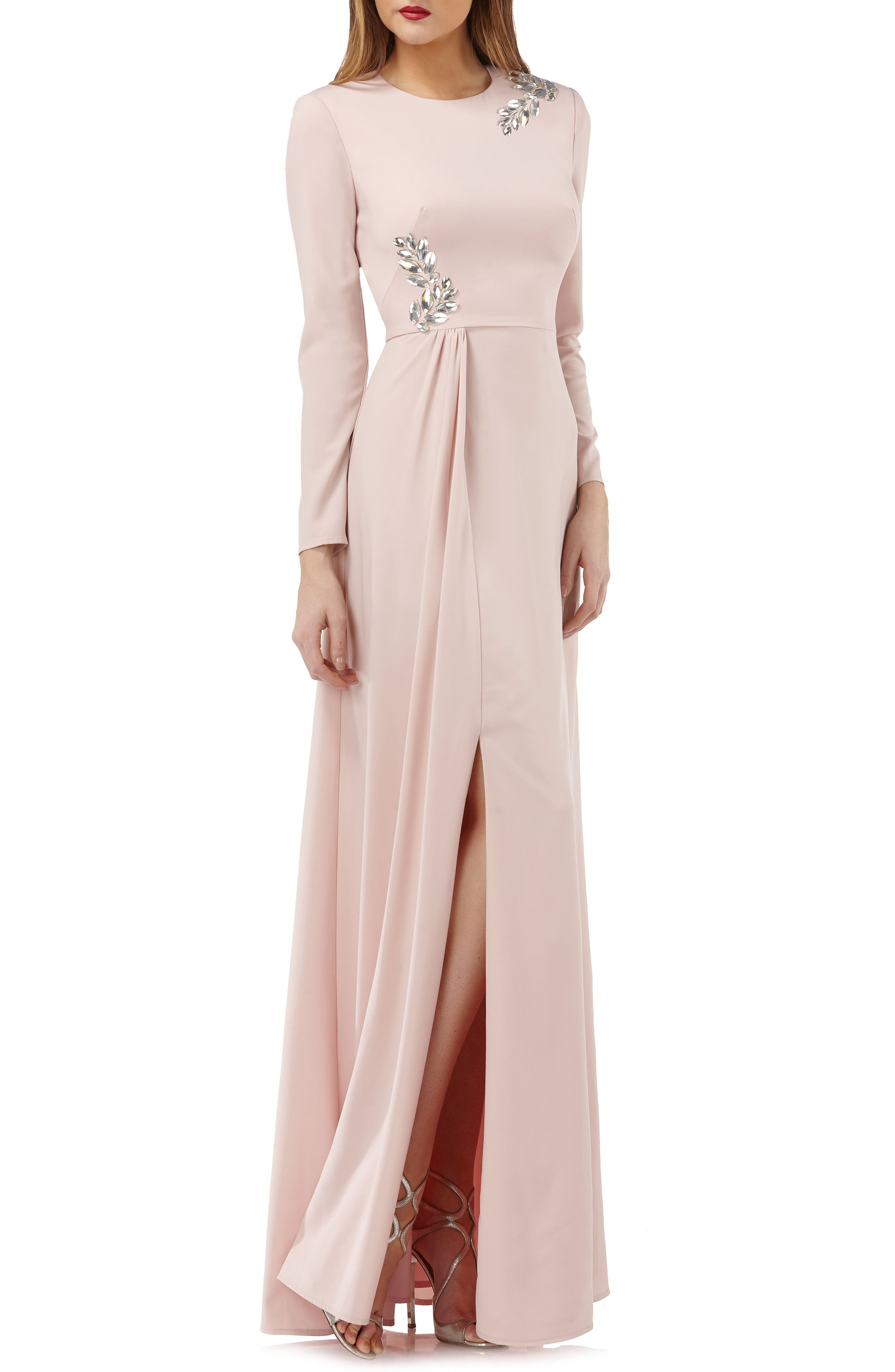 Long Sleeve Stretch Crepe Gown,                             Main thumbnail 1, color,                             Blush