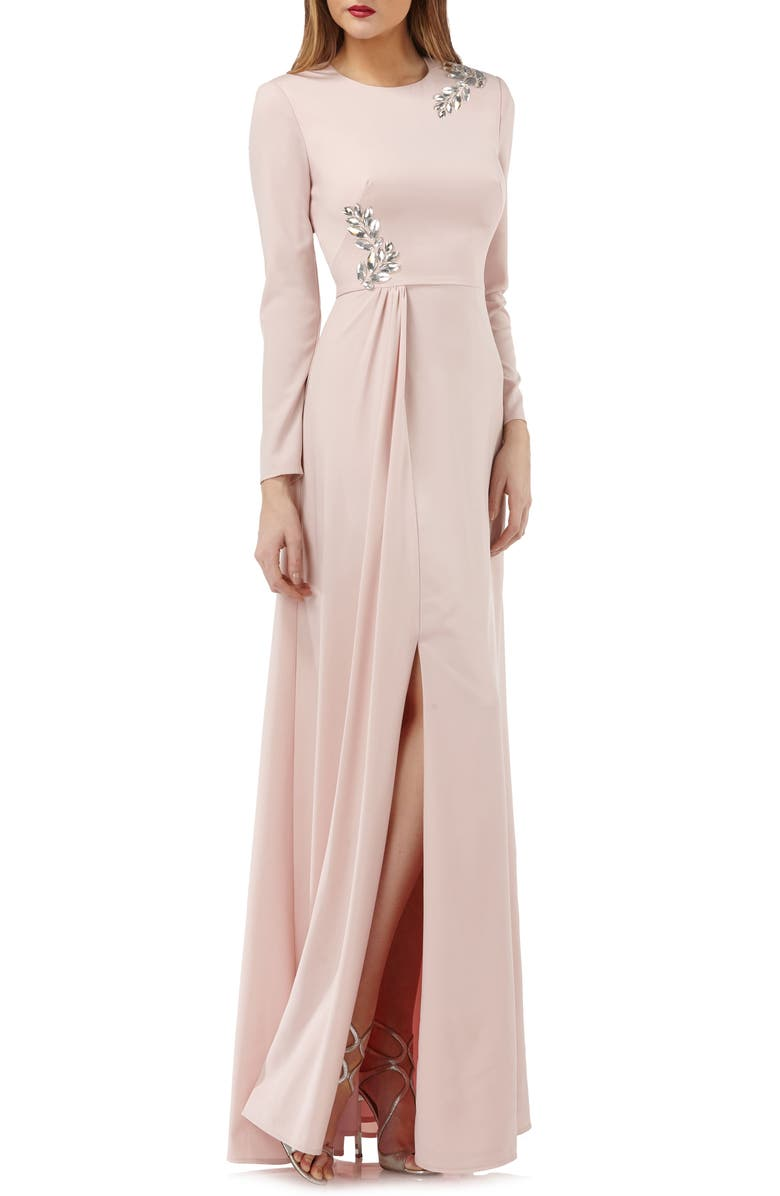 Long Sleeve Stretch Crepe Gown