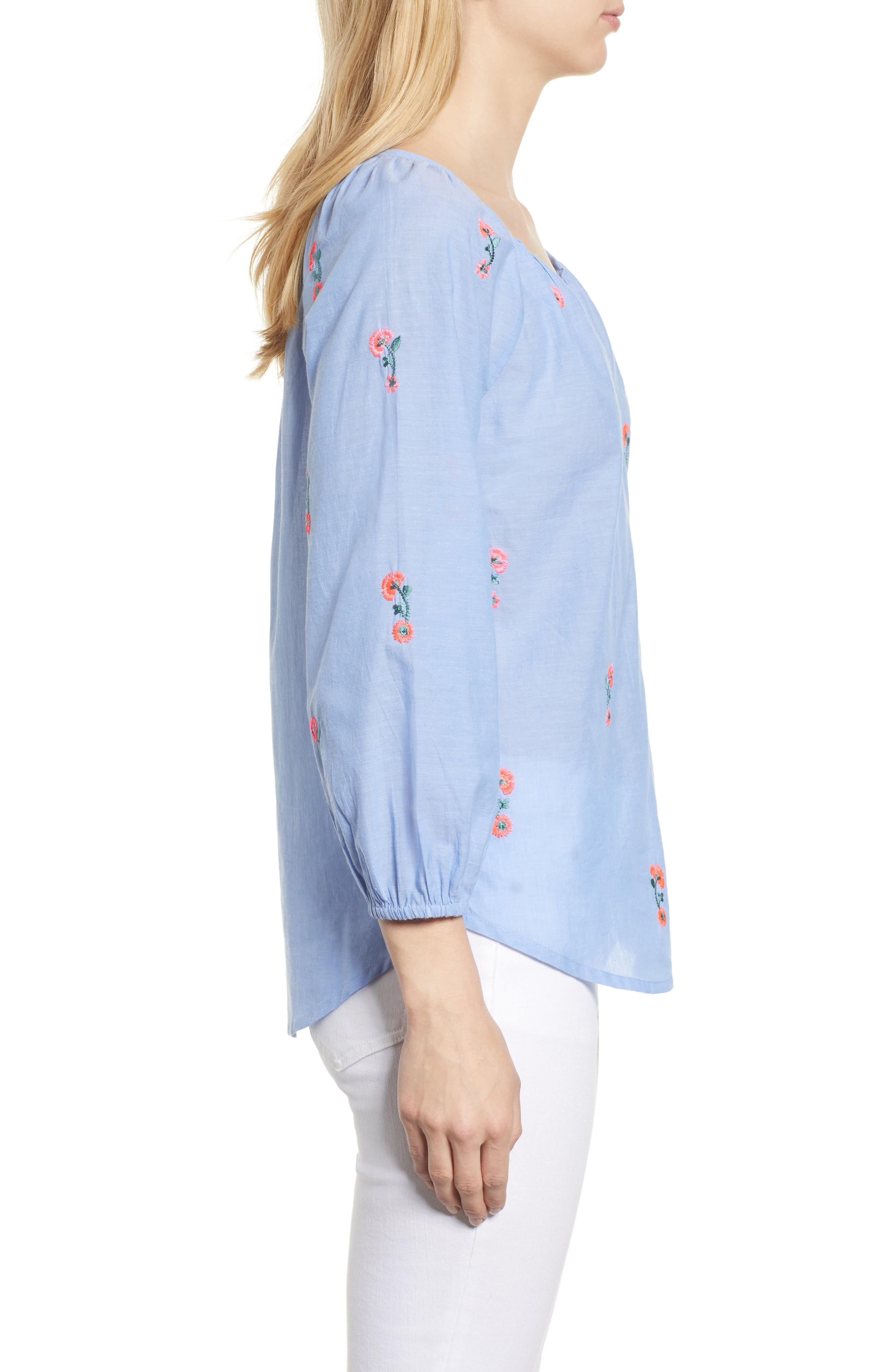 Embroidered Cotton Peasant Blouse,                             Alternate thumbnail 3, color,                             Chambray